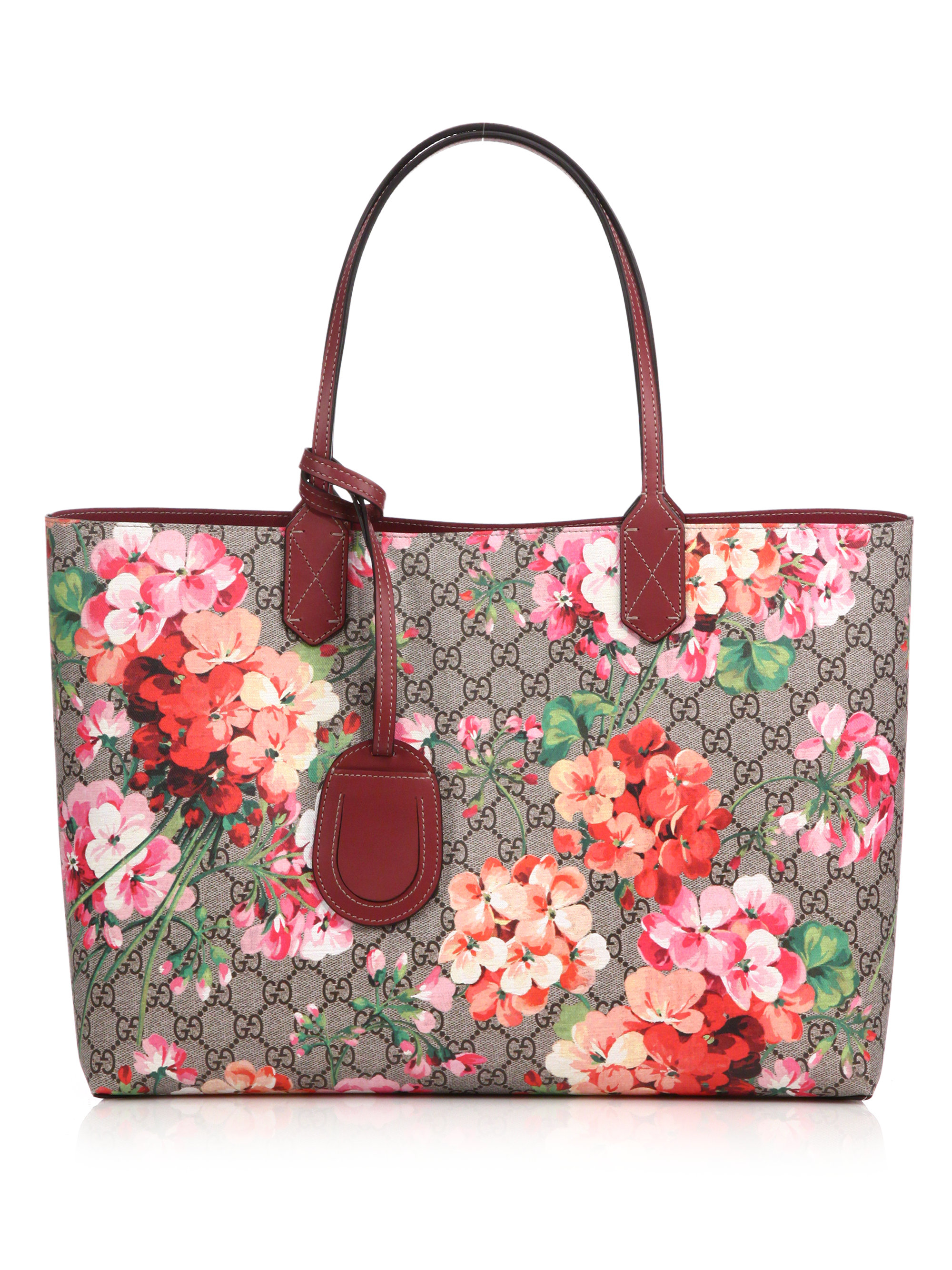fe176bbbfb8c Gucci Reversible Gg Blooms Large Leather Tote in Pink - Lyst