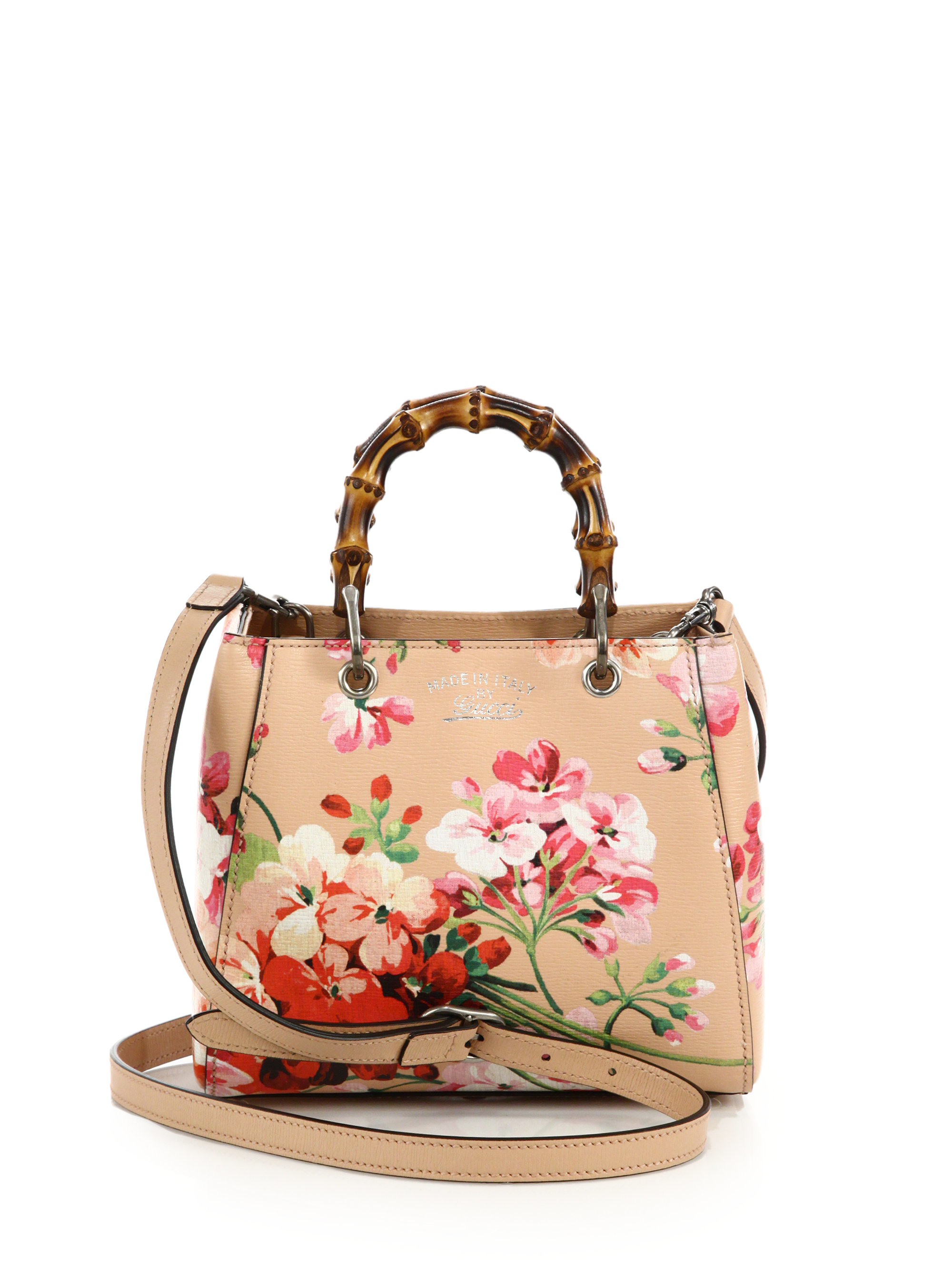 b1b8102713b3 Gucci Bamboo Blooms Mini Leather Shoulder Bag - Lyst