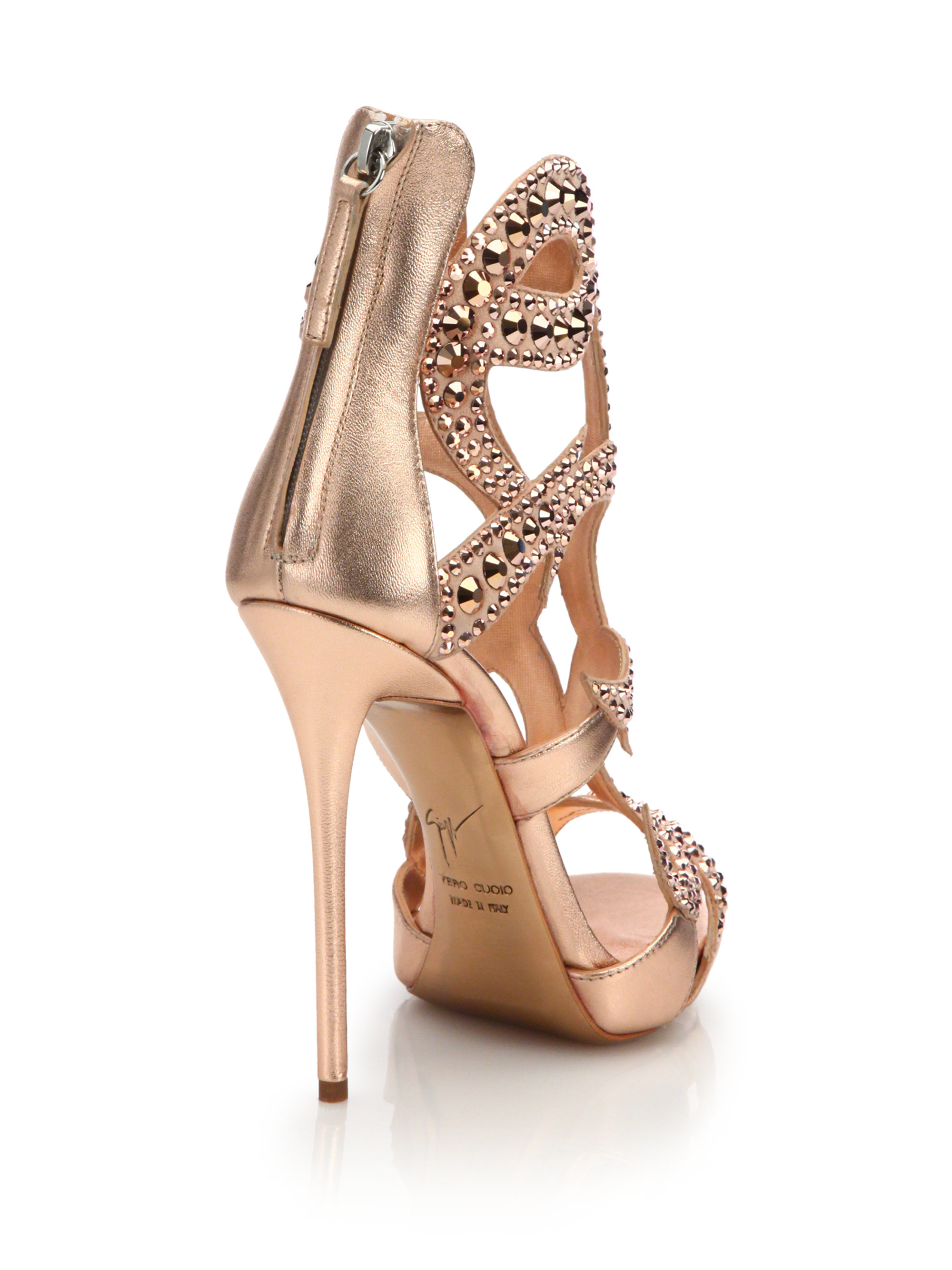 f0531c875c8 Lyst - Giuseppe Zanotti Crystal-embellished Metallic Leather Sandals in Pink