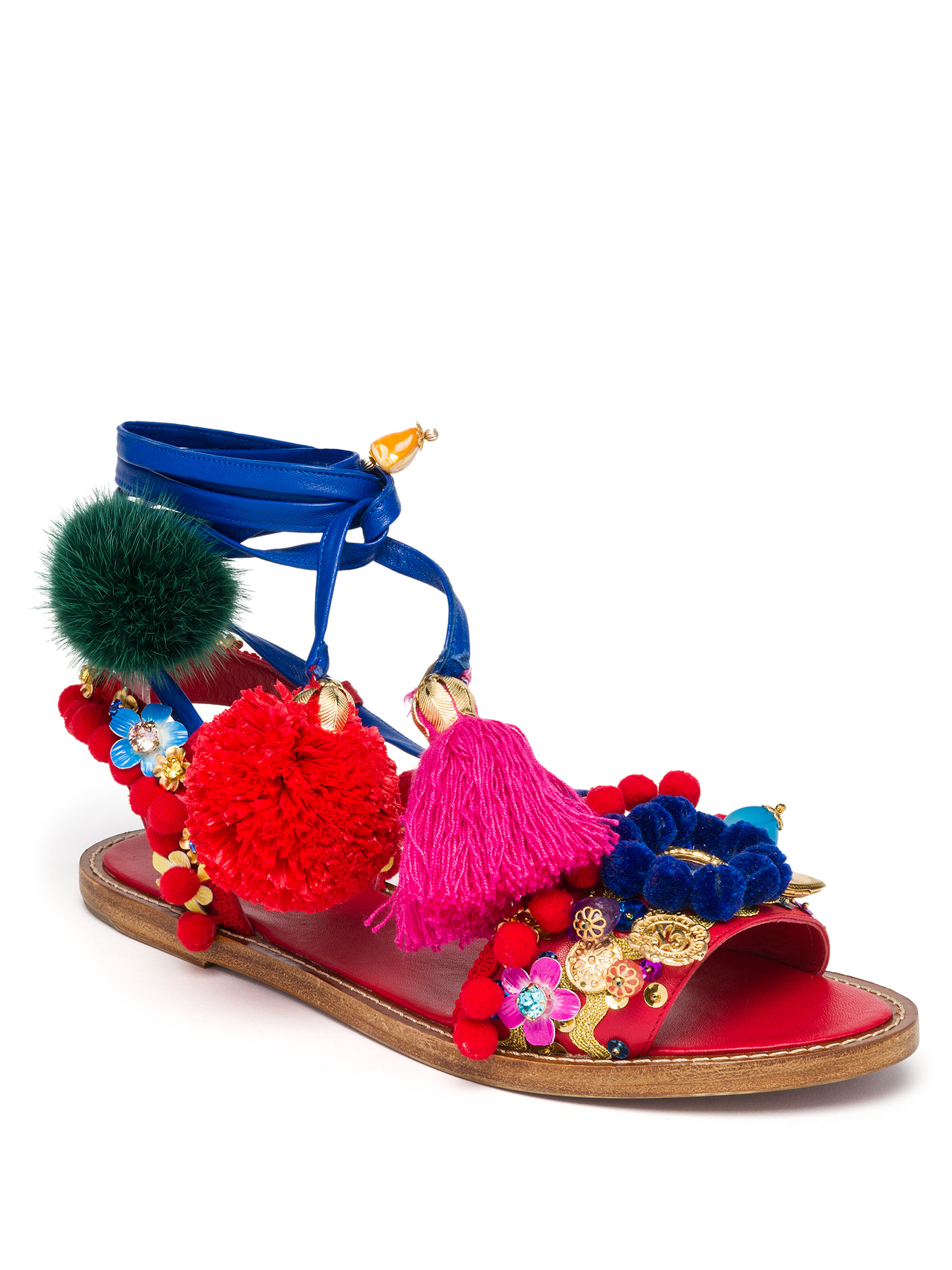 e50a3af91 Dolce & Gabbana Pom-pom Embellished Sandals - Lyst