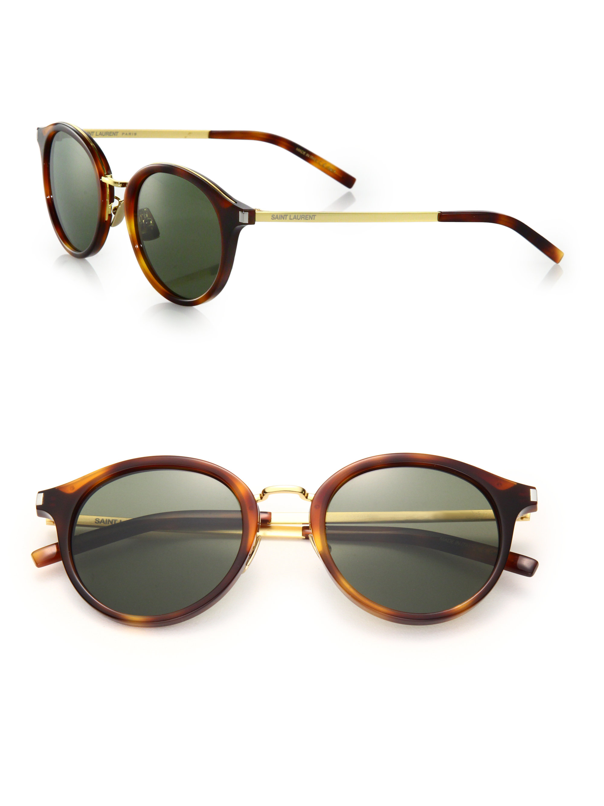 4f4caac2212 Saint Laurent 49mm Round Sunglasses in Brown for Men - Lyst