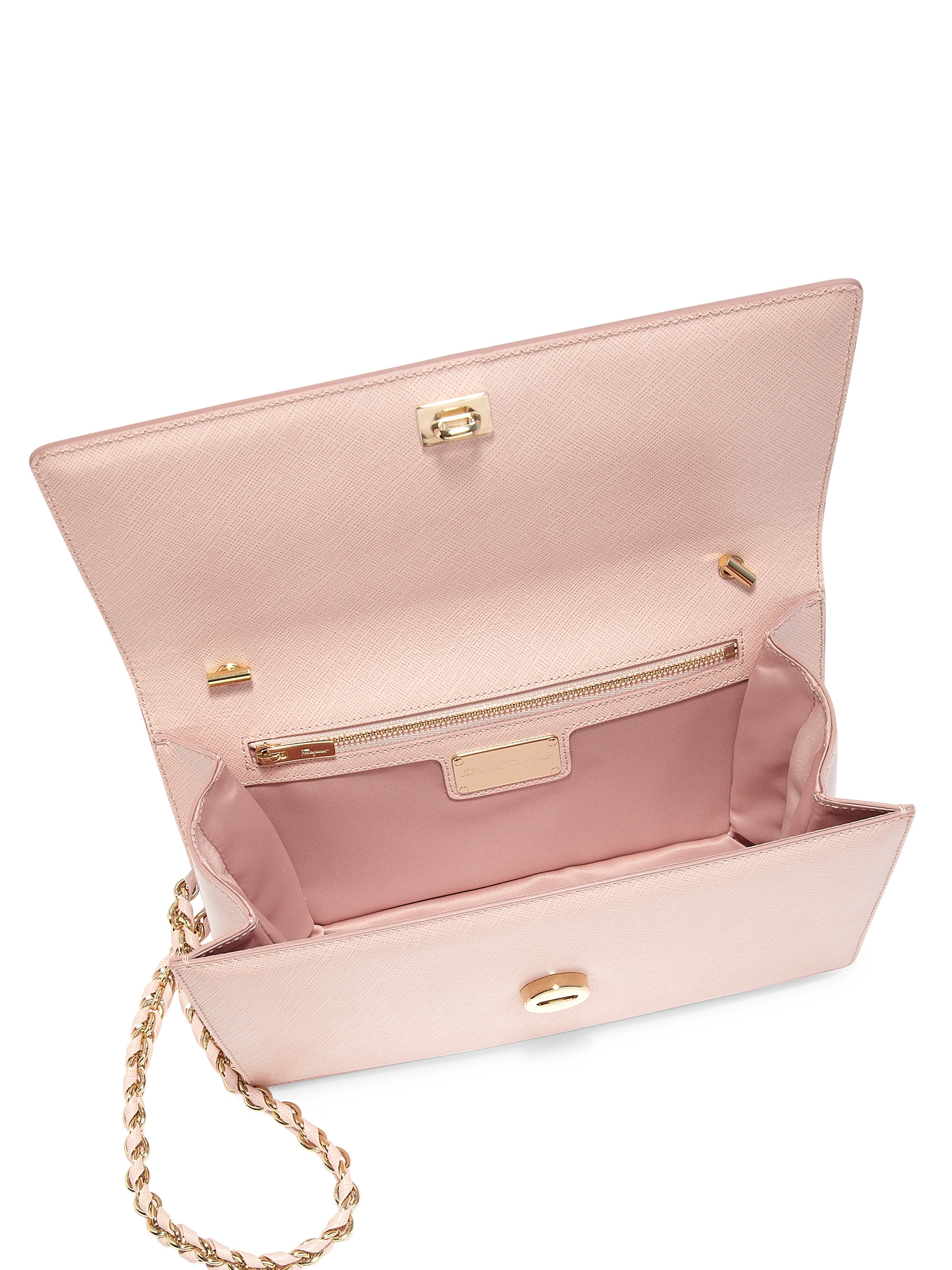 935f79a25706 Lyst - Ferragamo Ginny Saffiano Leather Shoulder Bag in Pink