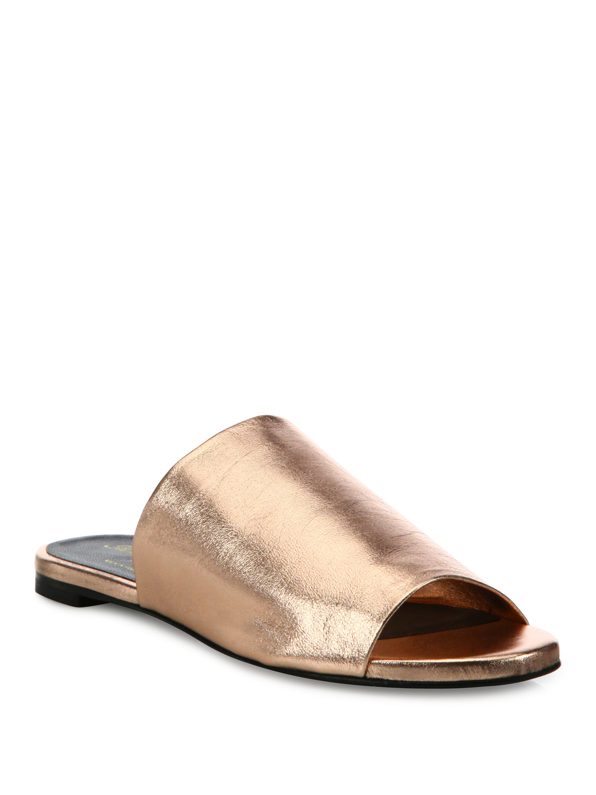 outlet 100% authentic clearance latest Robert Clergerie Metallic Slide Sandals clearance 100% authentic cheap huge surprise XRtBKskE