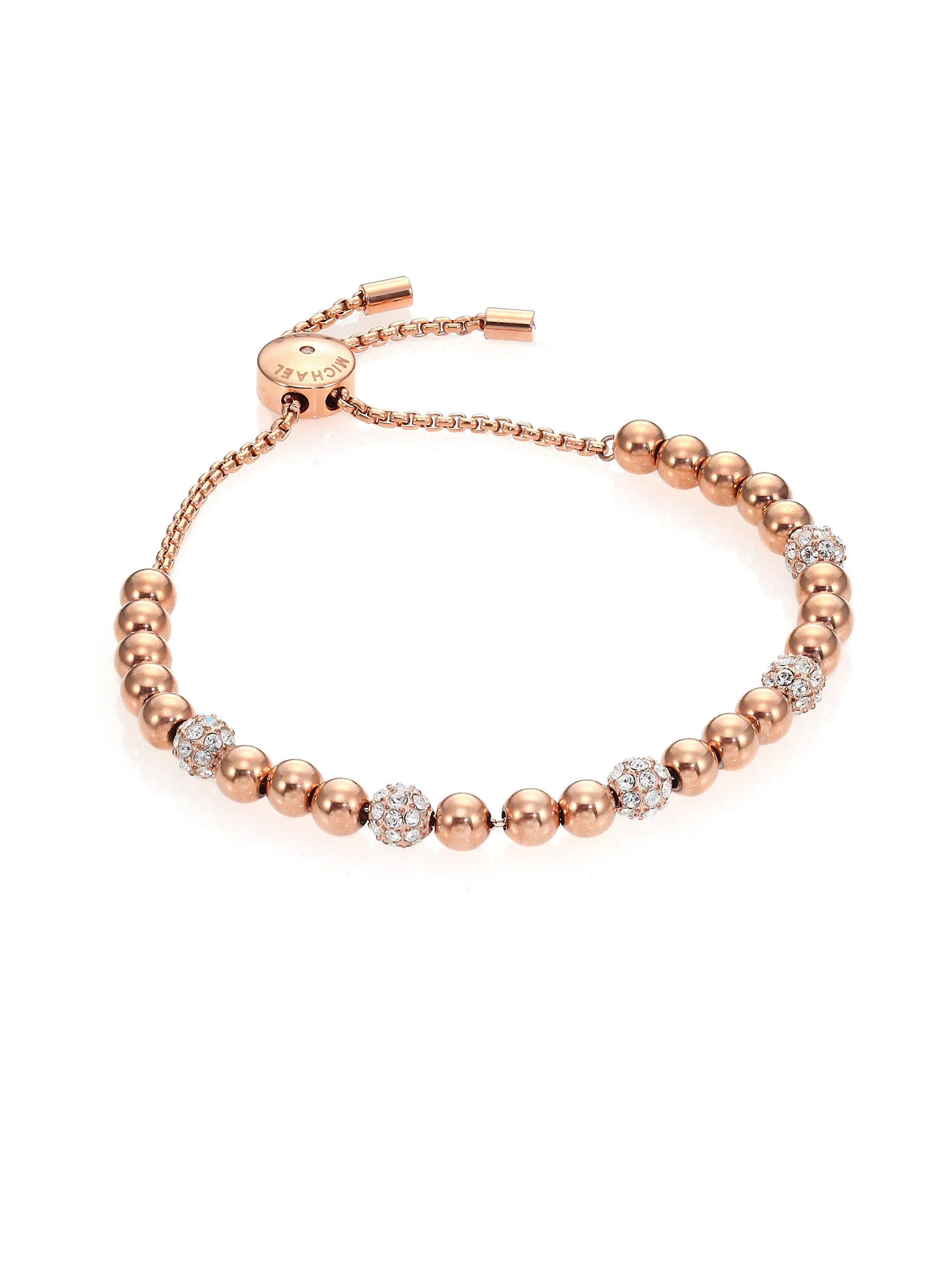 db13a16c93f7 Lyst - Michael Kors Brilliance Pave Beaded Slide Bracelet rose ...