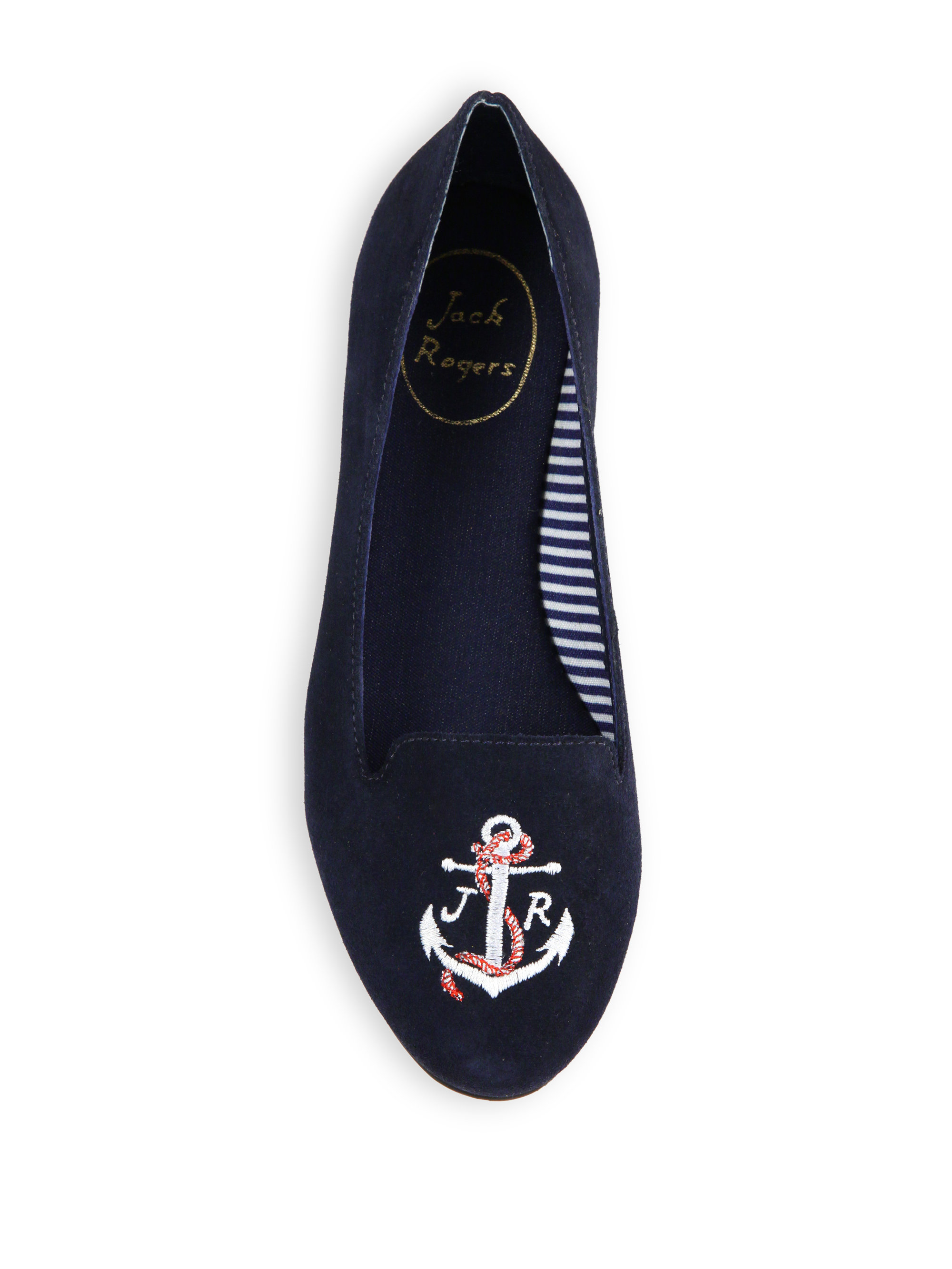 Jack Rogers Reese Anchor Embroidered Suede Loafers In Blue