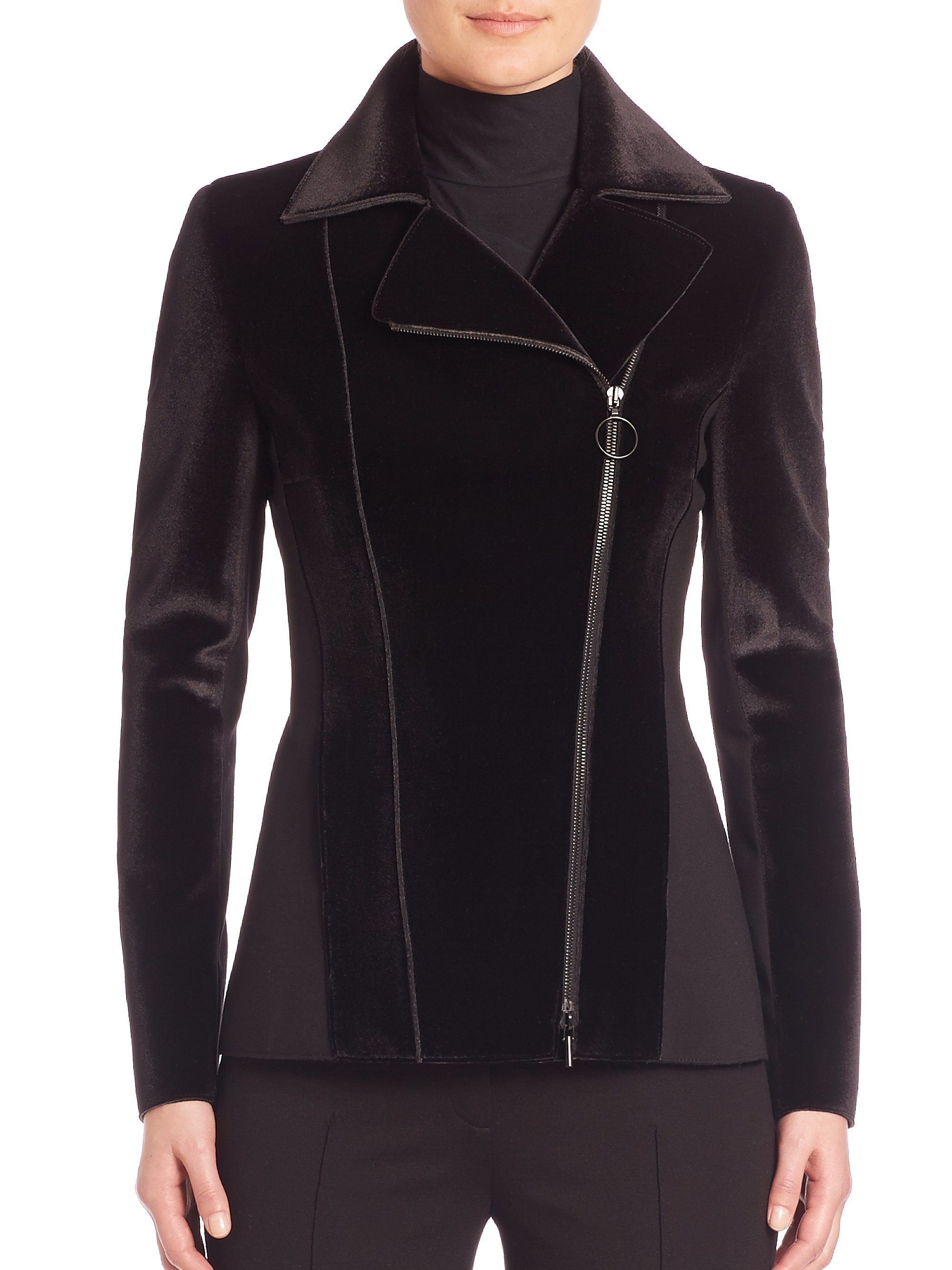Lyst Akris Punto Velvet Front Jersey Jacket In Black