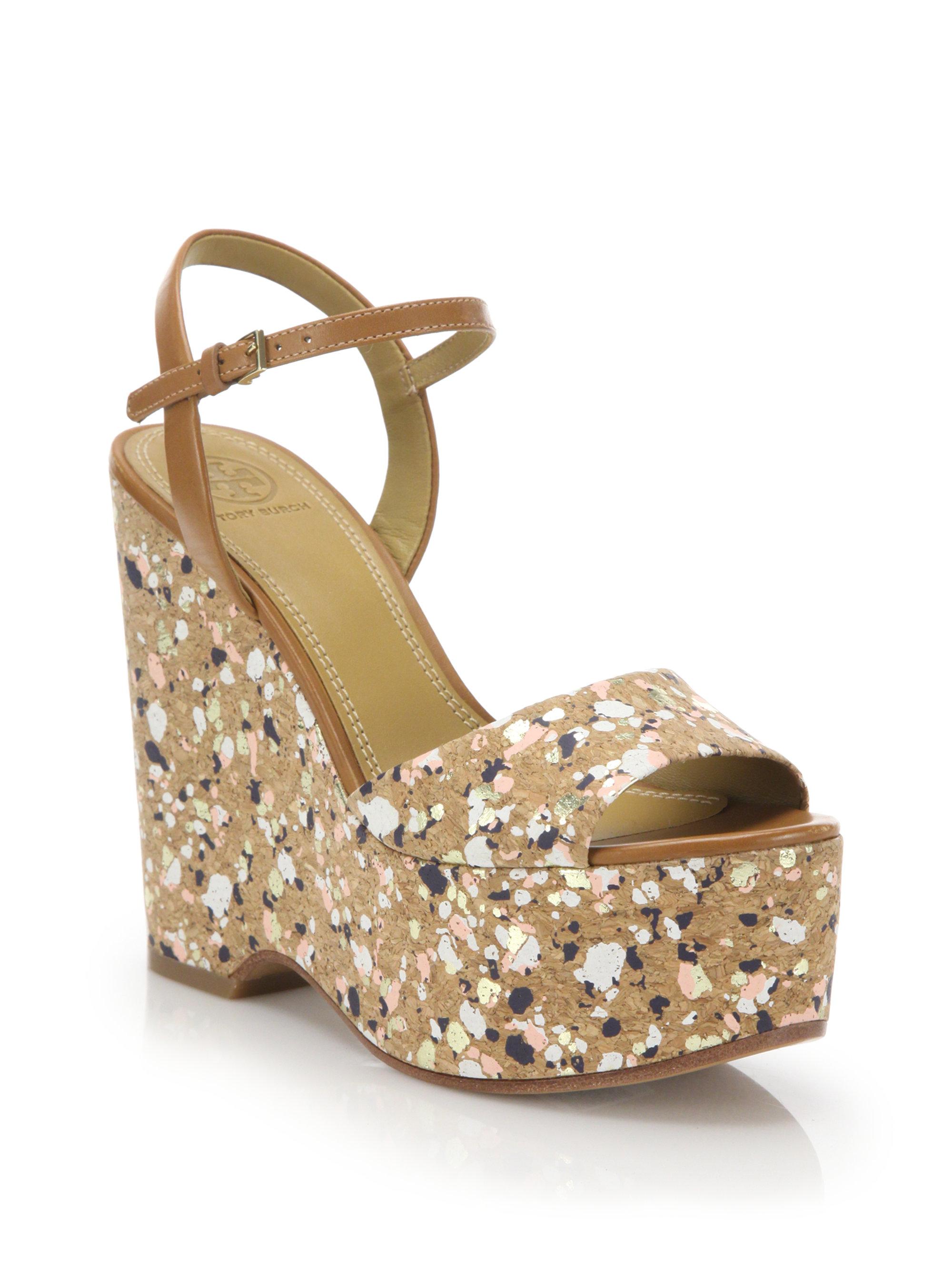 fccdc0c0a Tory Burch Solana Confetti Cork Platform Wedge Sandals in Brown - Lyst