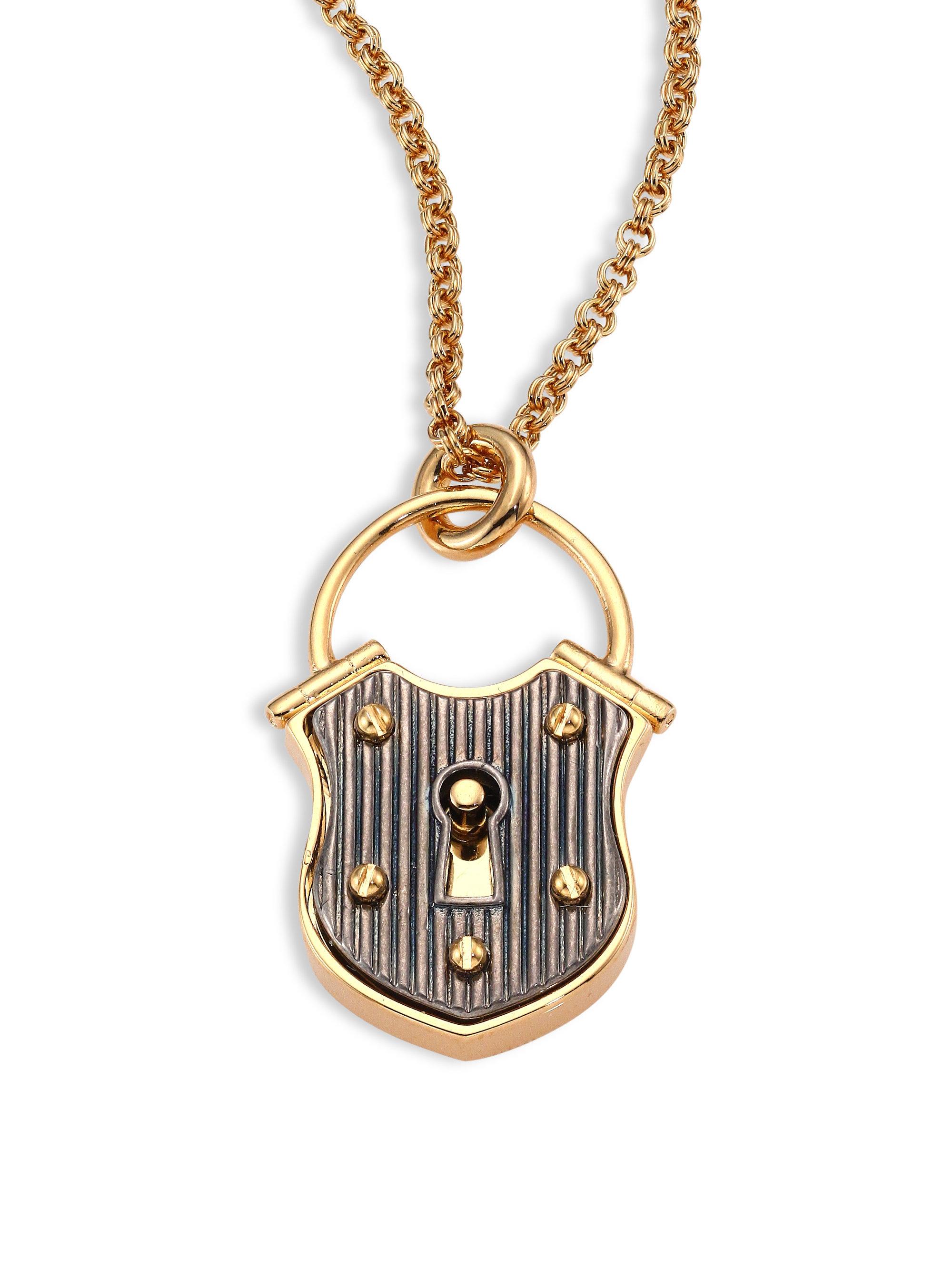 Lanvin Lock Short Pendant Necklace in Metallic
