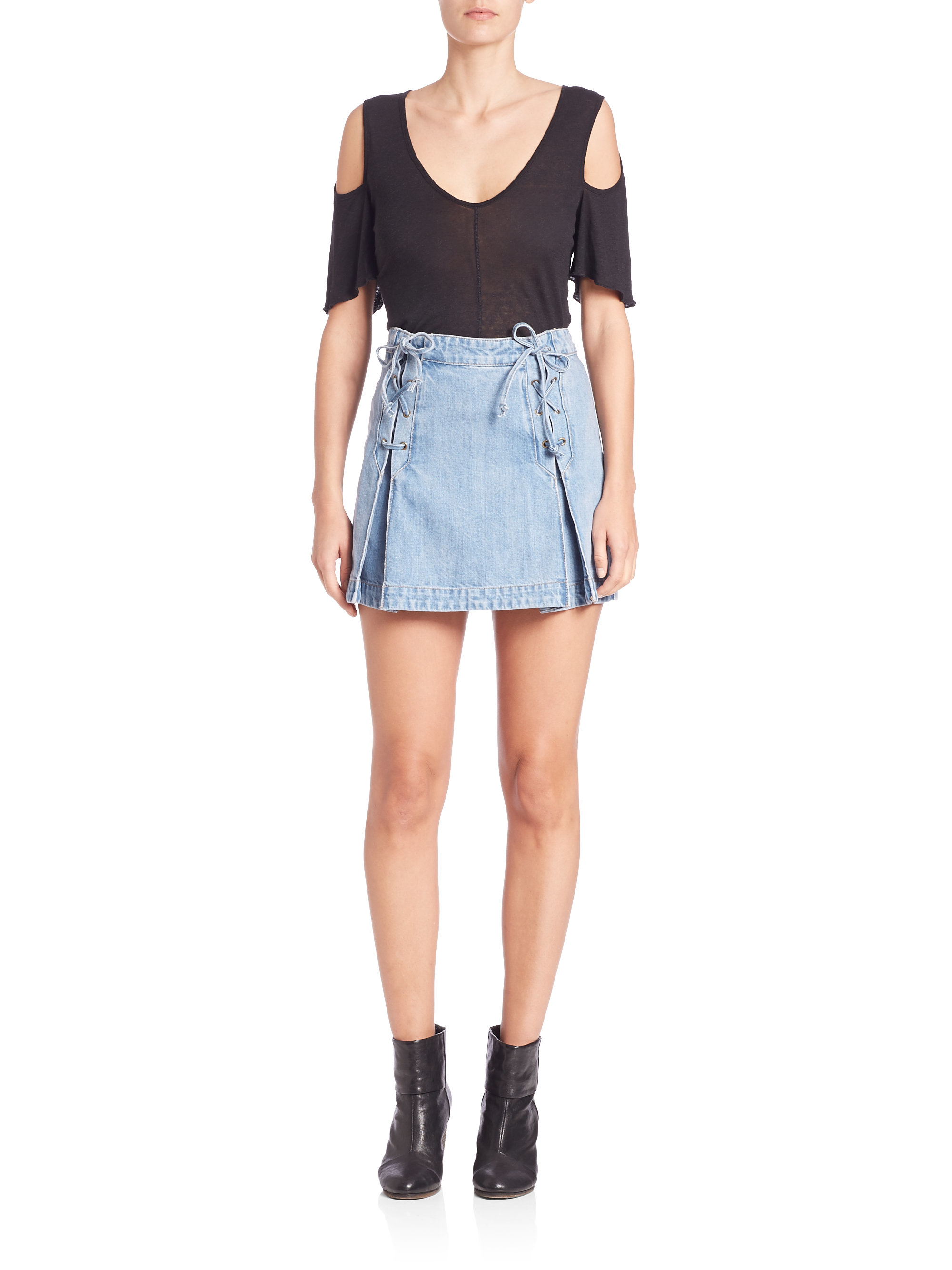 Free people Denim Lace-up Mini Skirt in Blue