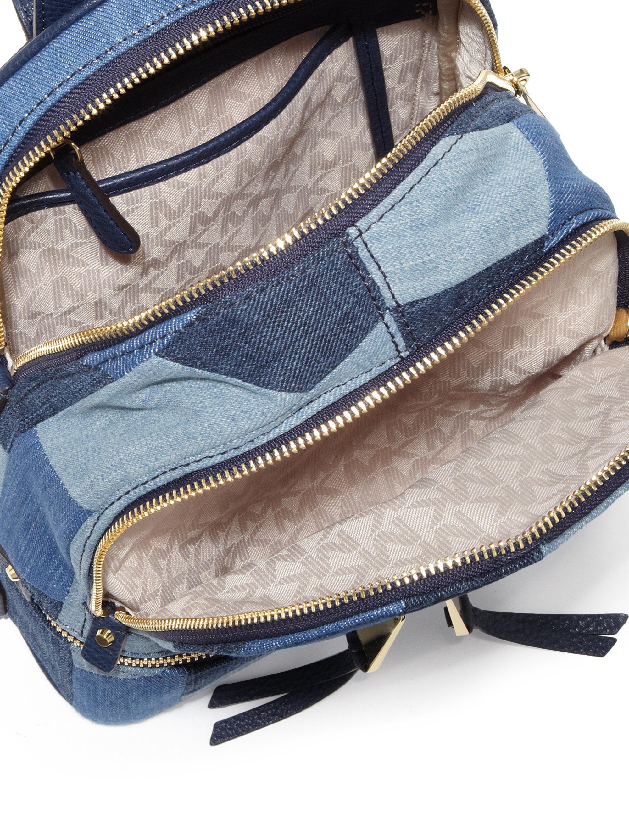 40d5559958fe MICHAEL Michael Kors Rhea Mosaic Patchwork Denim Backpack in Blue - Lyst