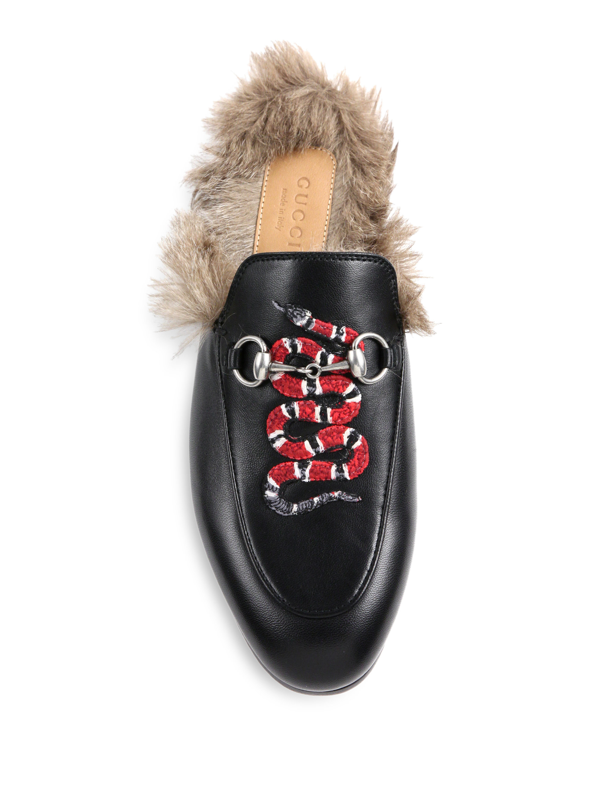 cb47954f282 Lyst - Gucci Princetown Fur-lined Snake Leather Slippers in Black