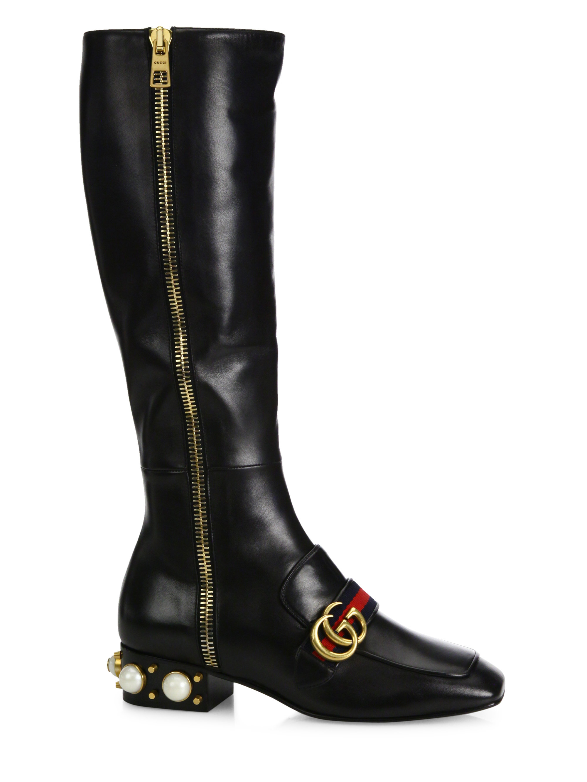 Gucci Pebbles Pearl Amp Ribbon Lace Up Boots In Black Lyst