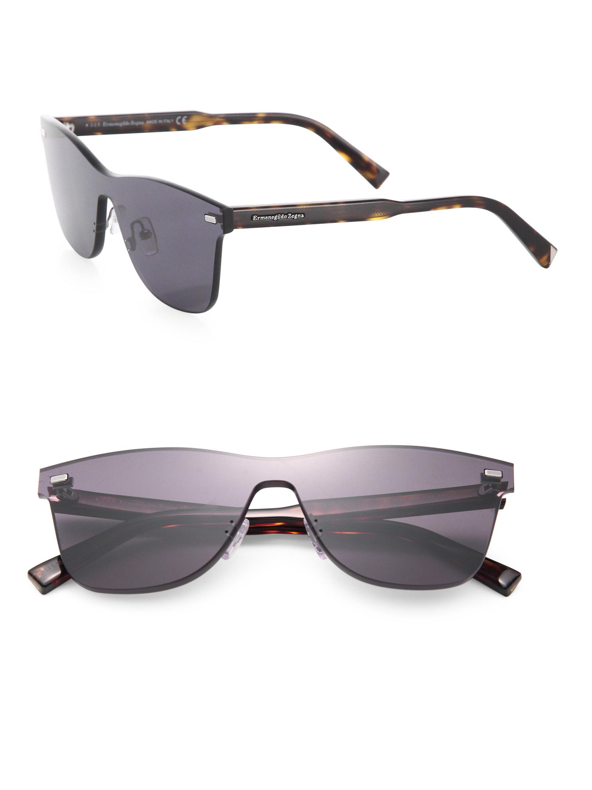 0b24cf25c1 Lyst - Ermenegildo Zegna 143mm Shield Sunglasses in Black for Men