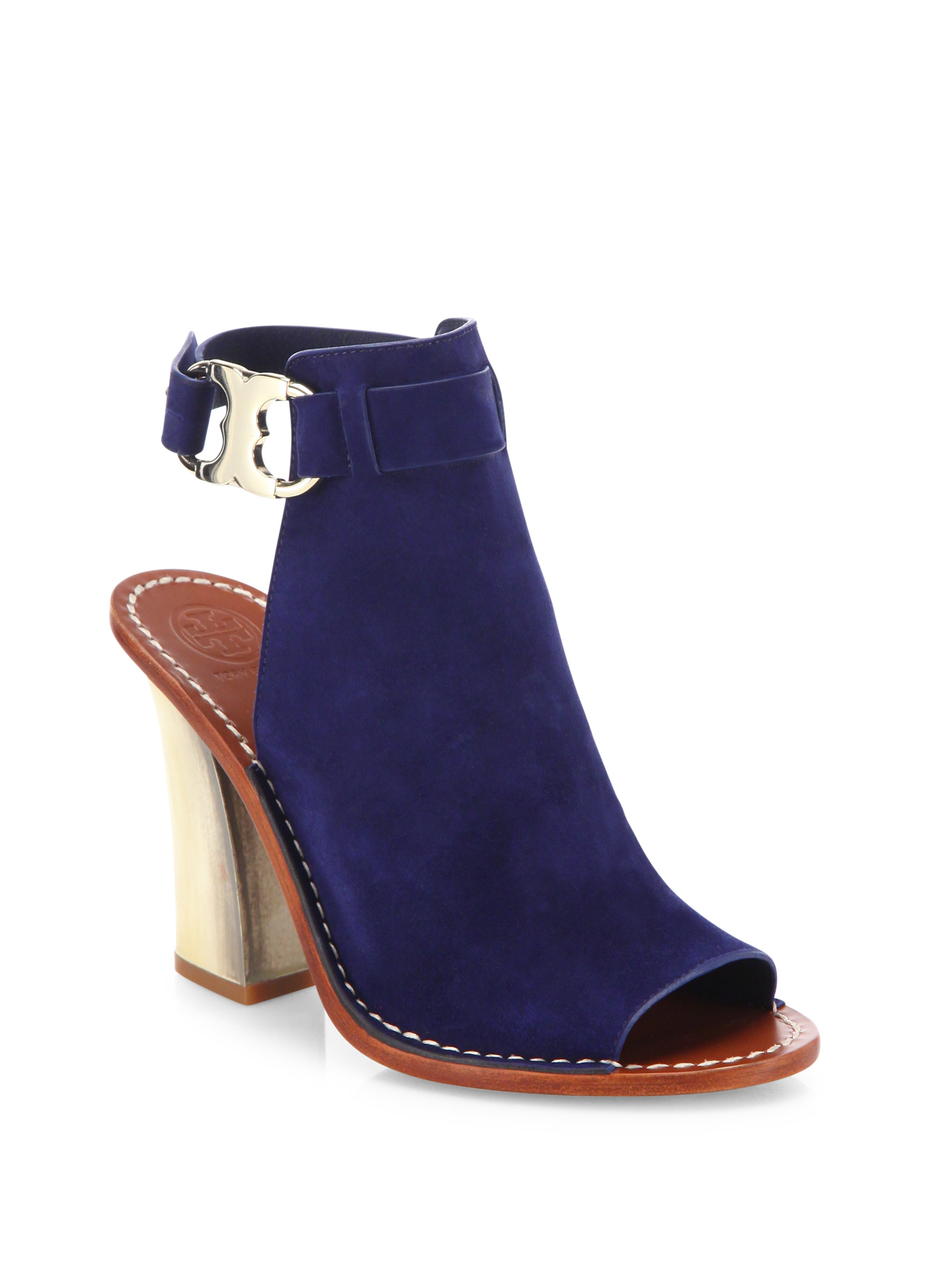 f3ba4c684cdc Lyst - Tory Burch Gemini Link Suede Peep-toe Block-heel Sandals in Blue
