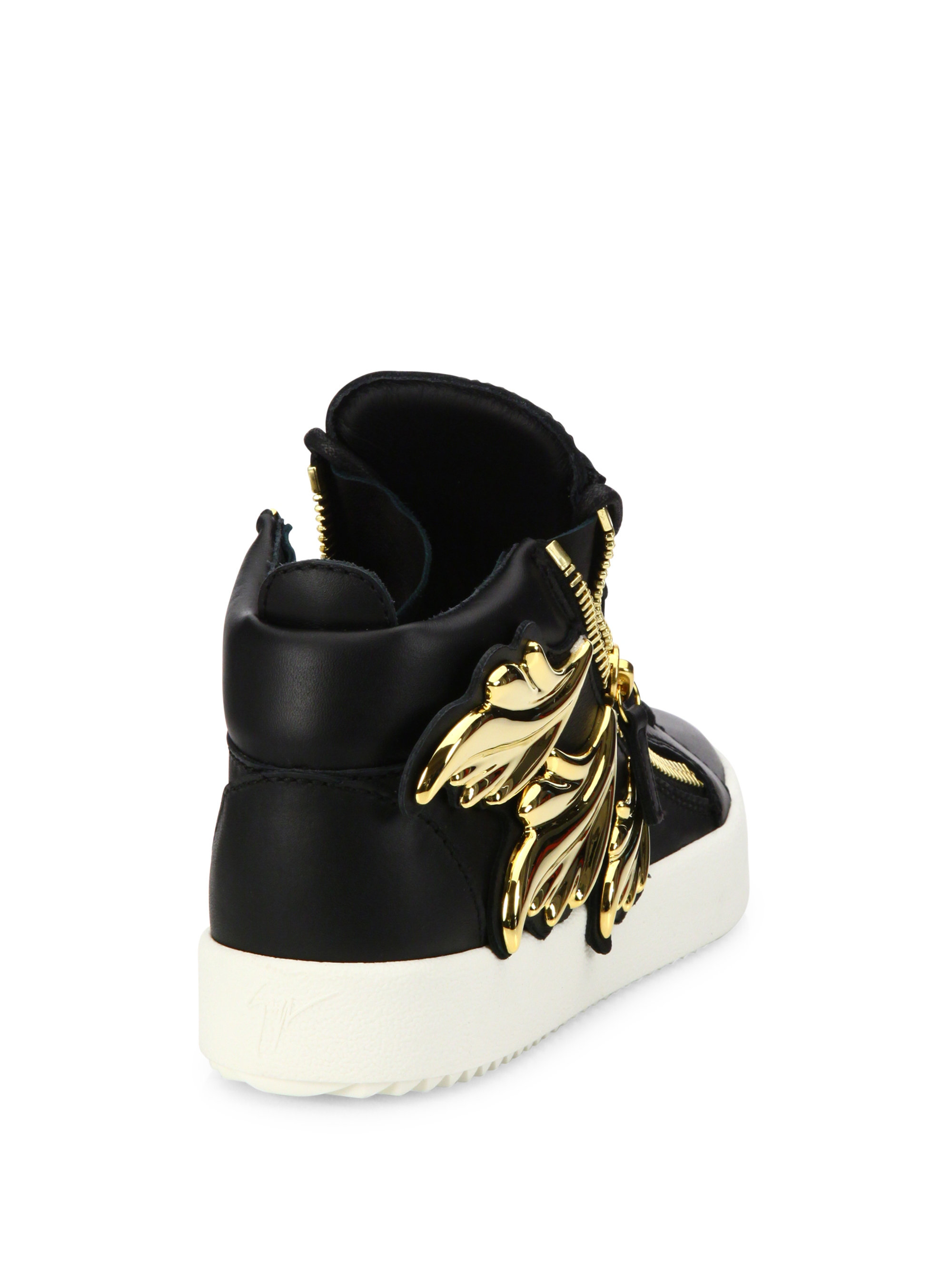 Giuseppe Zanotti Kanye Wing Leather High Top Sneakers In