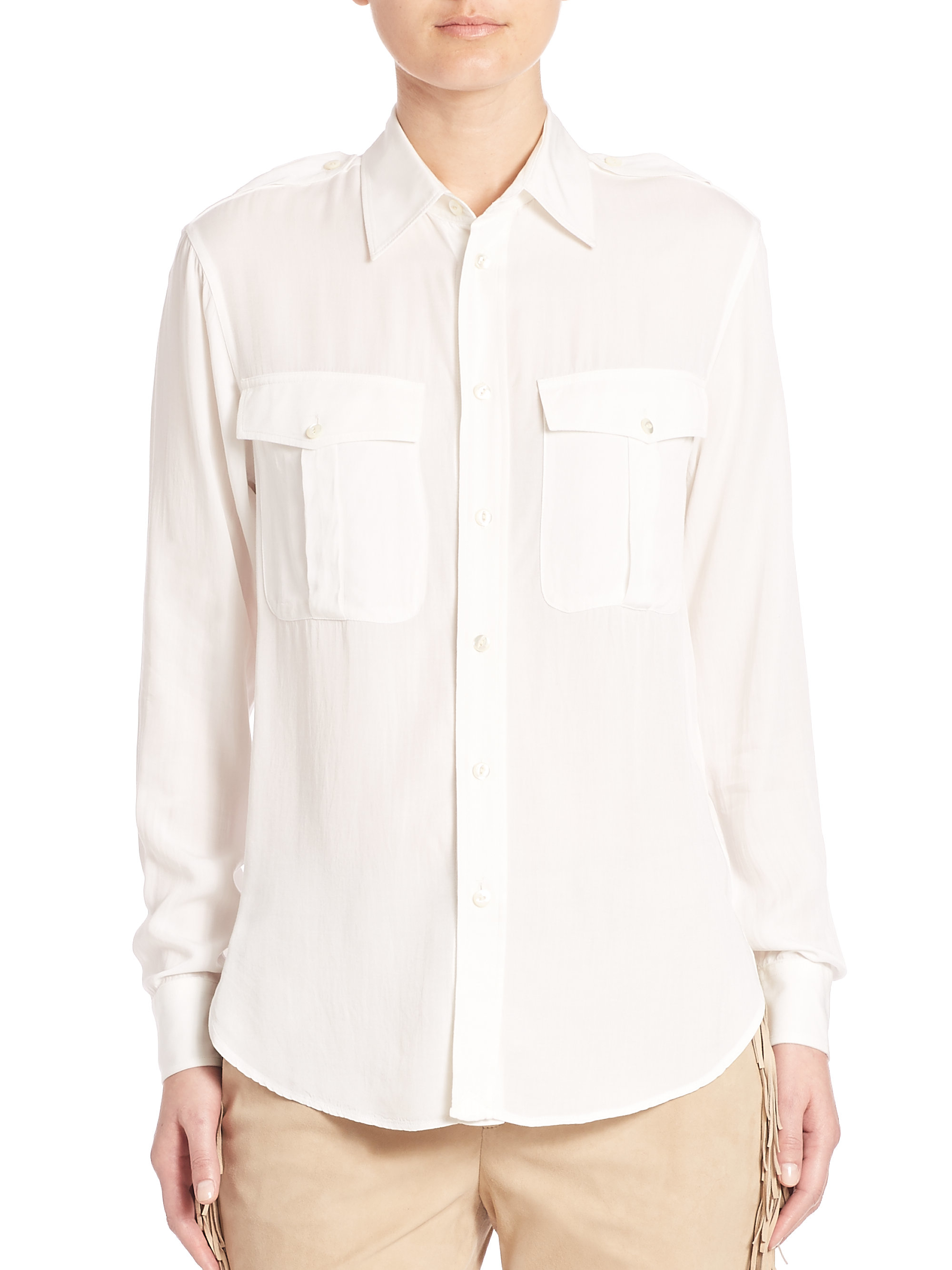 Polo ralph lauren twill button up shirt in white lyst for Womens button up polo shirts