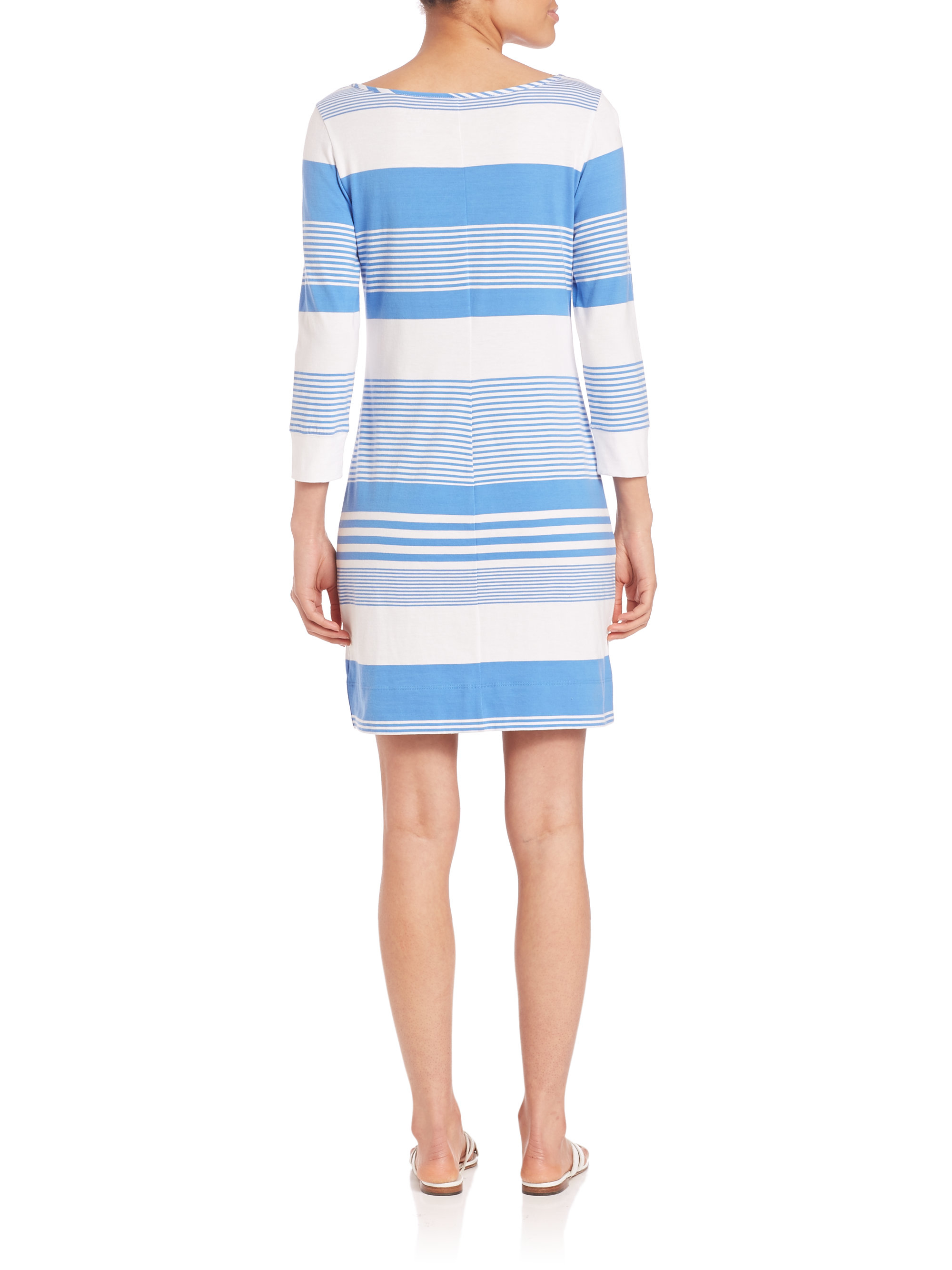 Lilly pulitzer Marlowe Pima Cotton Striped Dress in Blue ...