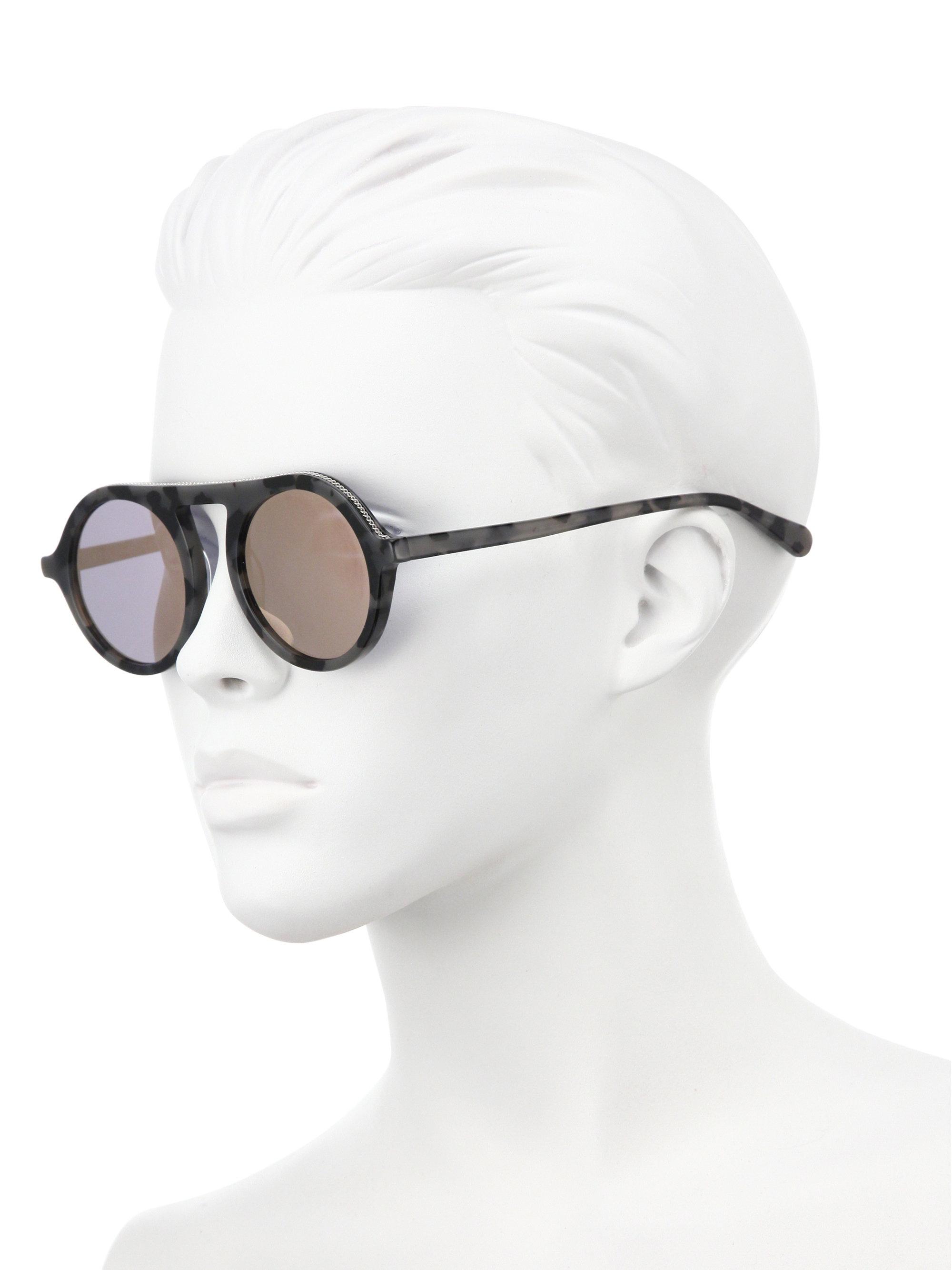 78b7be5782931 Lyst - Stella McCartney 48mm Falabella Chain Round Sunglasses in Gray