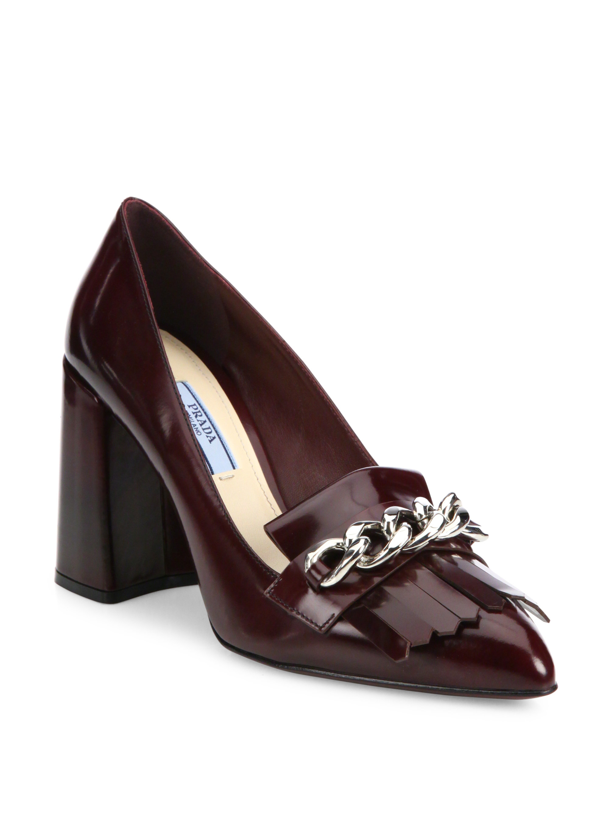 fa486820c4d5 Lyst - Prada Kiltie Chain Patent Leather Block-heel Pumps in Brown