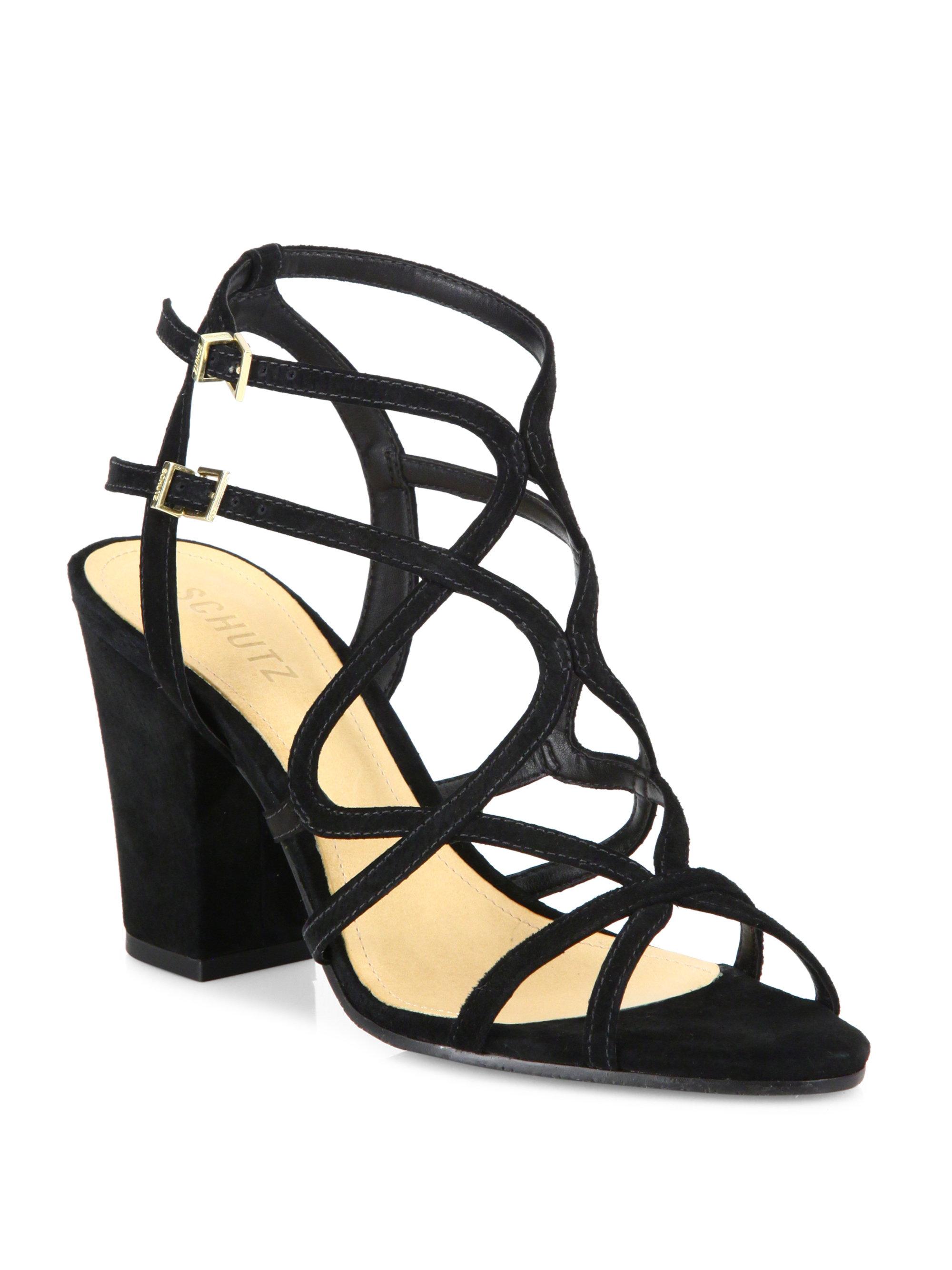 cc6ab6453c Schutz Lynne Strappy Suede Block-heel Sandals in Black - Lyst