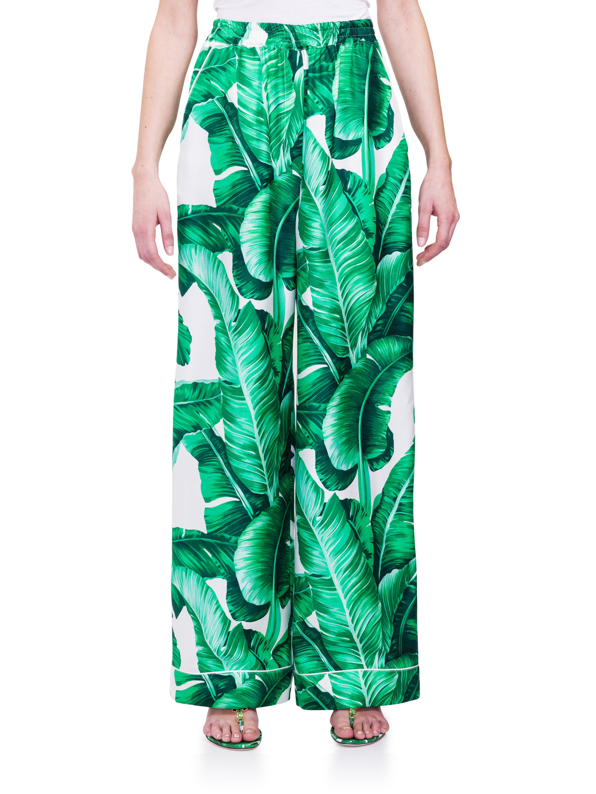 Lyst - Dolce   Gabbana Silk Twill Pajama Pants in Green e1662b552