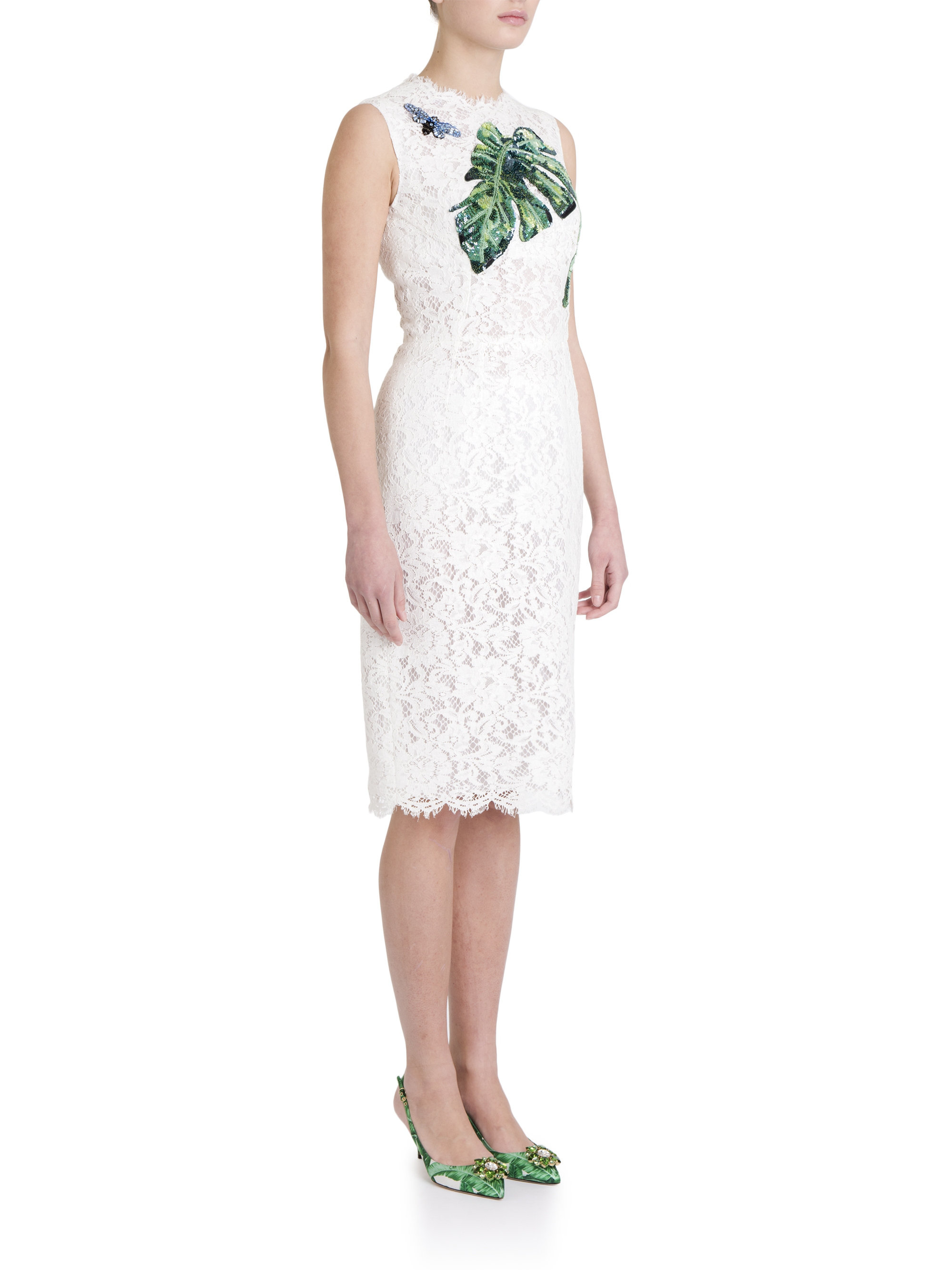 Dolce gabbana jackie leaf embroidered lace dress in
