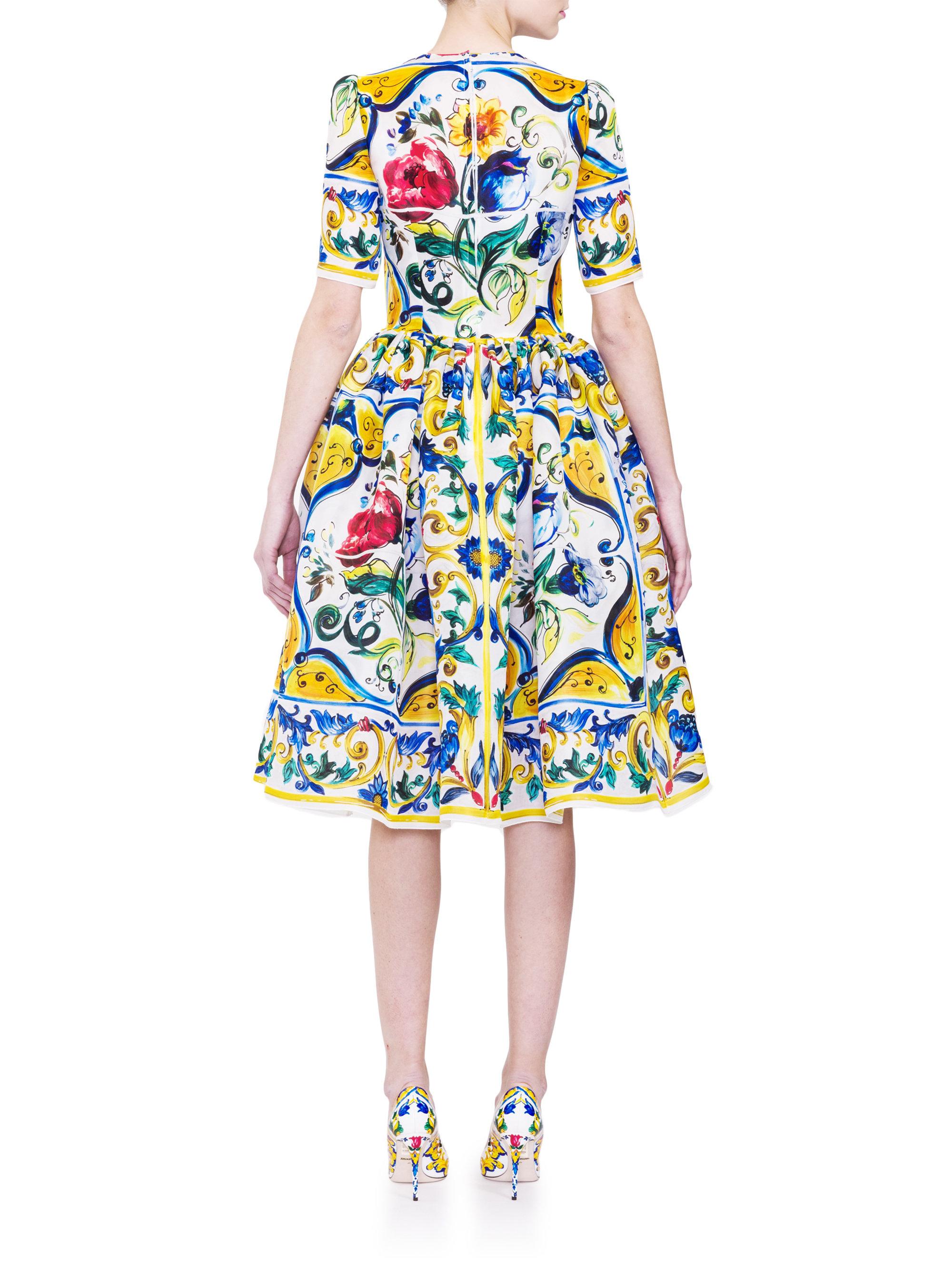 Dolce & gabbana Silk Organza Tile-print Dress