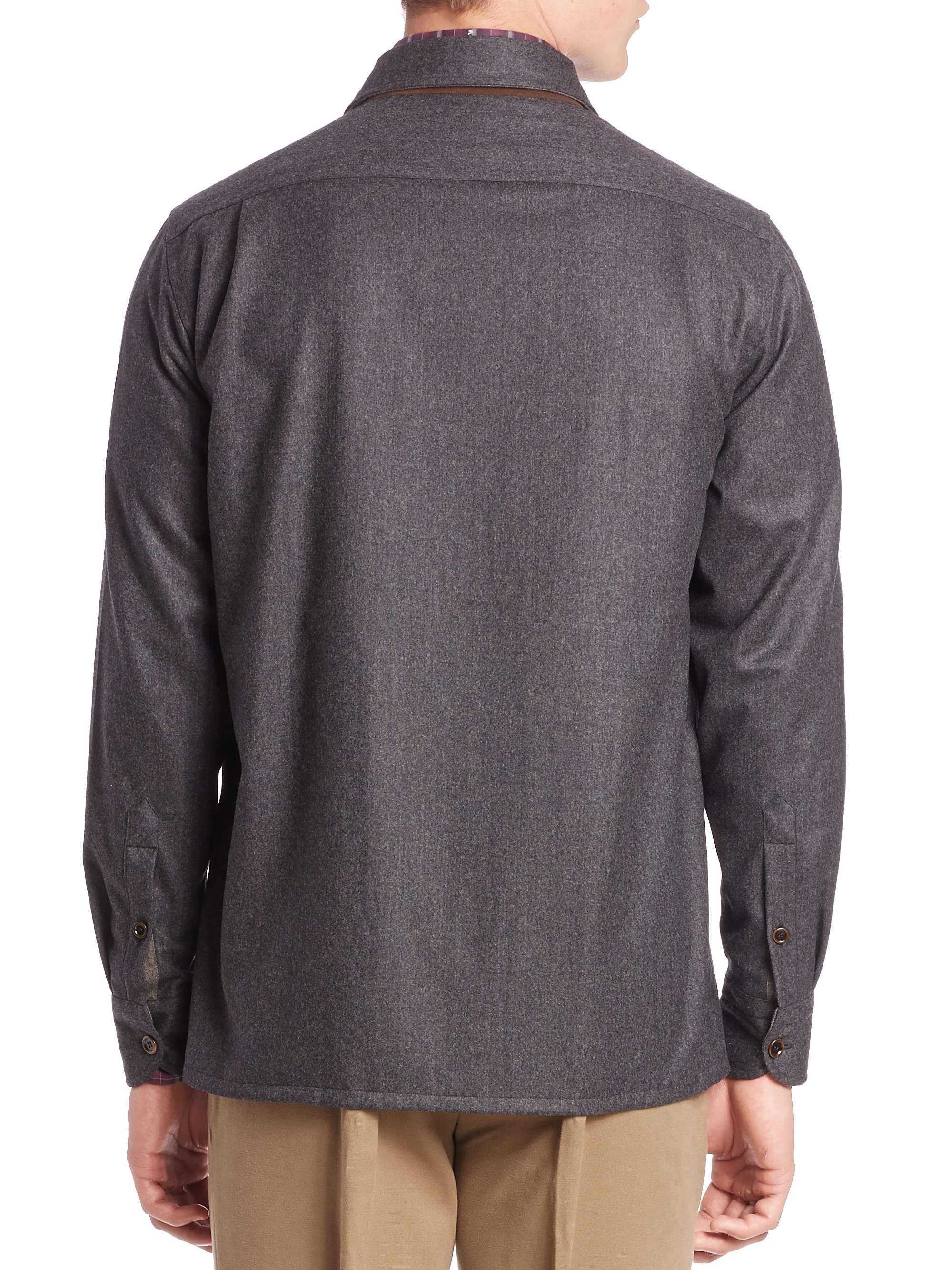 Luciano Barbera Flannel Cashmere Amp Cotton Shirt In Gray