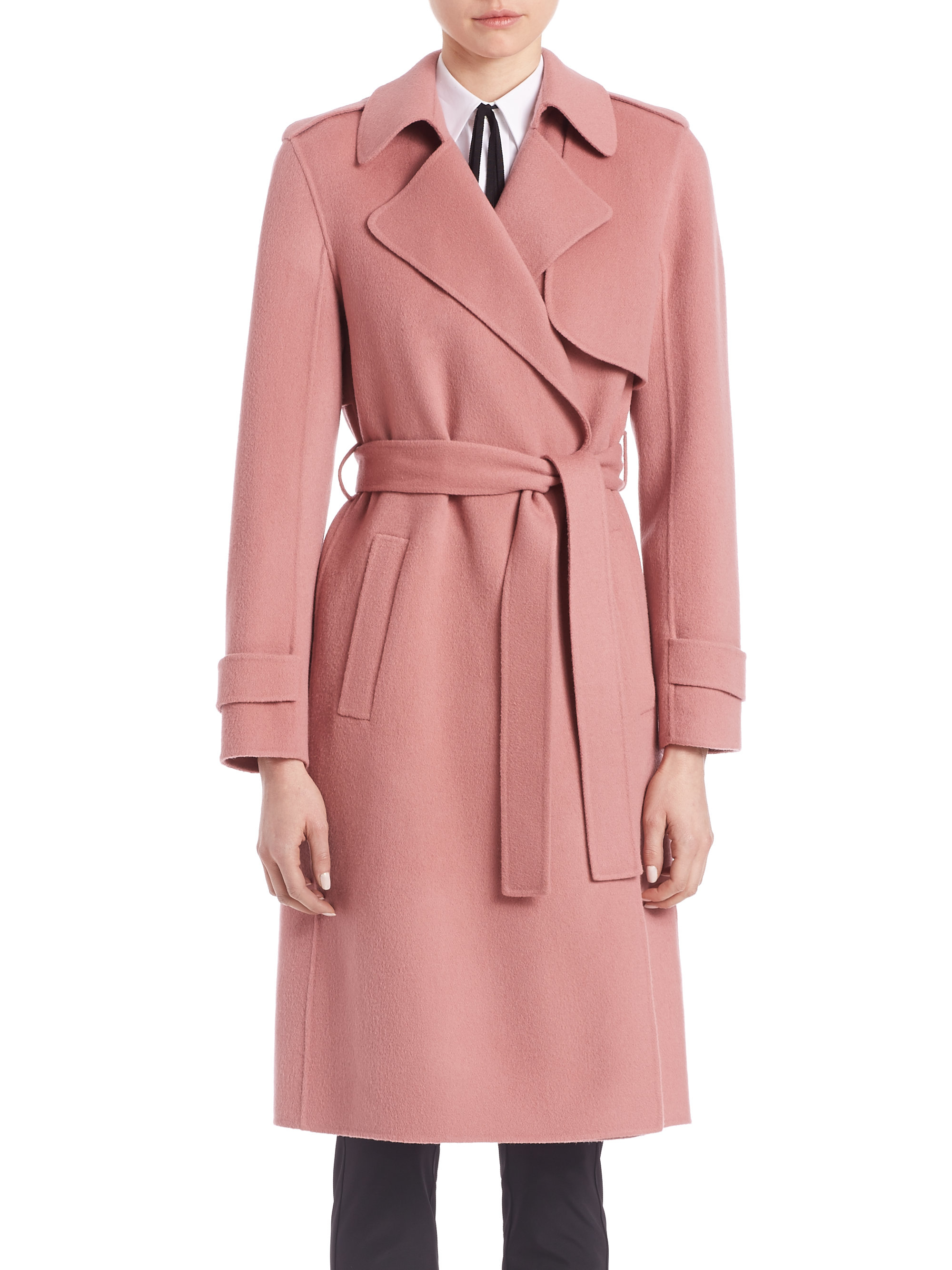900271f31a2 Theory Oaklane Wrap Coat in Pink - Lyst