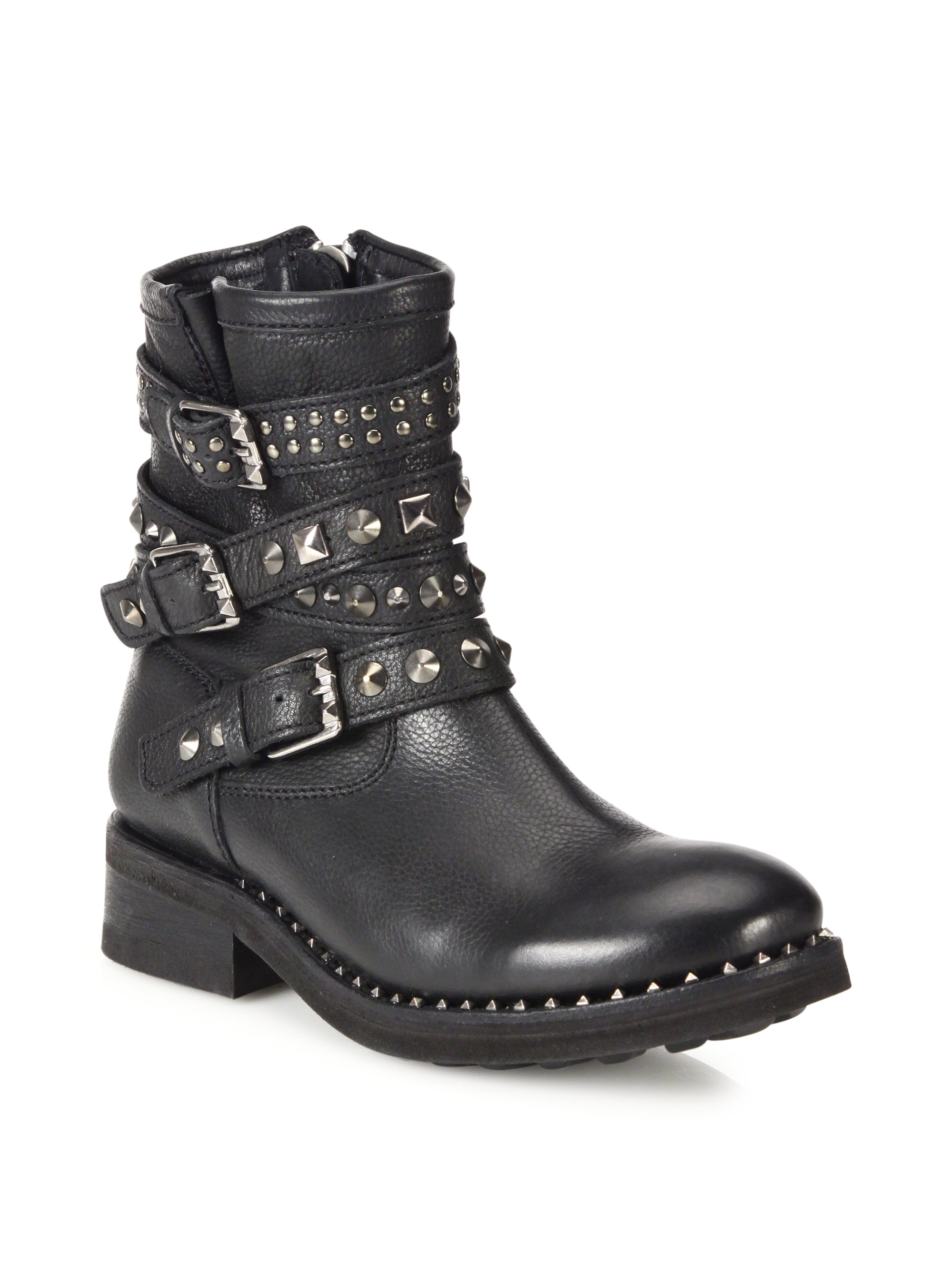 Lyst Ash Tattoo Studded Leather Moto Booties In Black