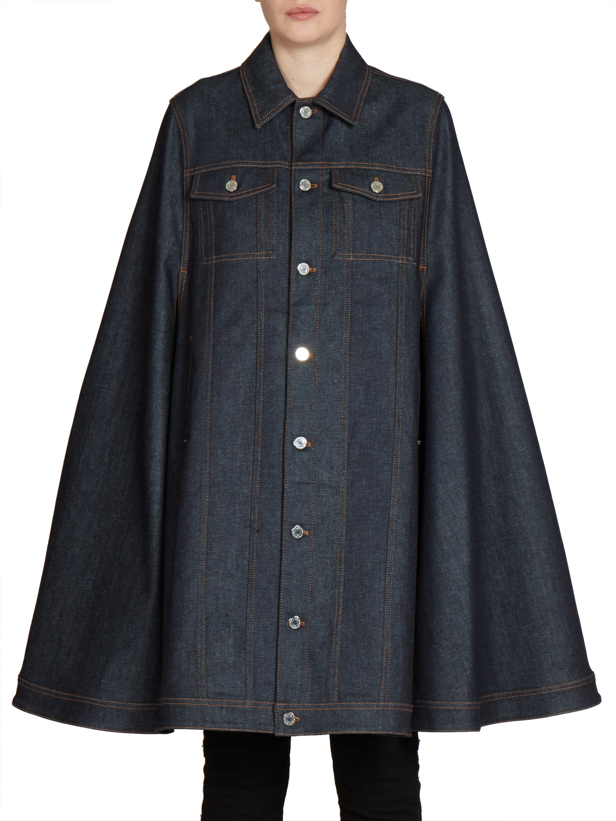 Lyst Givenchy Long Denim Cape In Blue