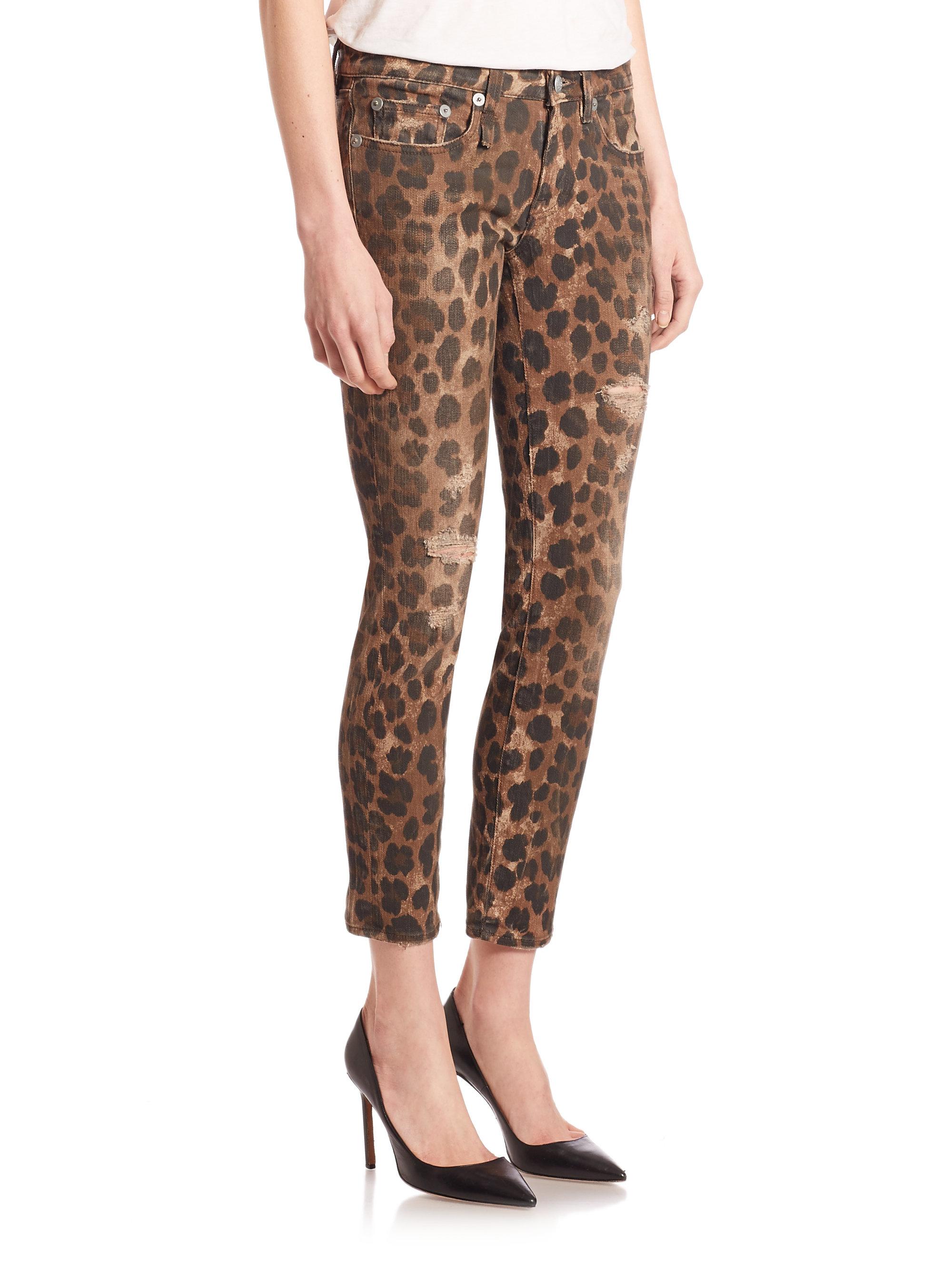 R13 Kate Leopard Print Skinny Jeans In Brown Lyst