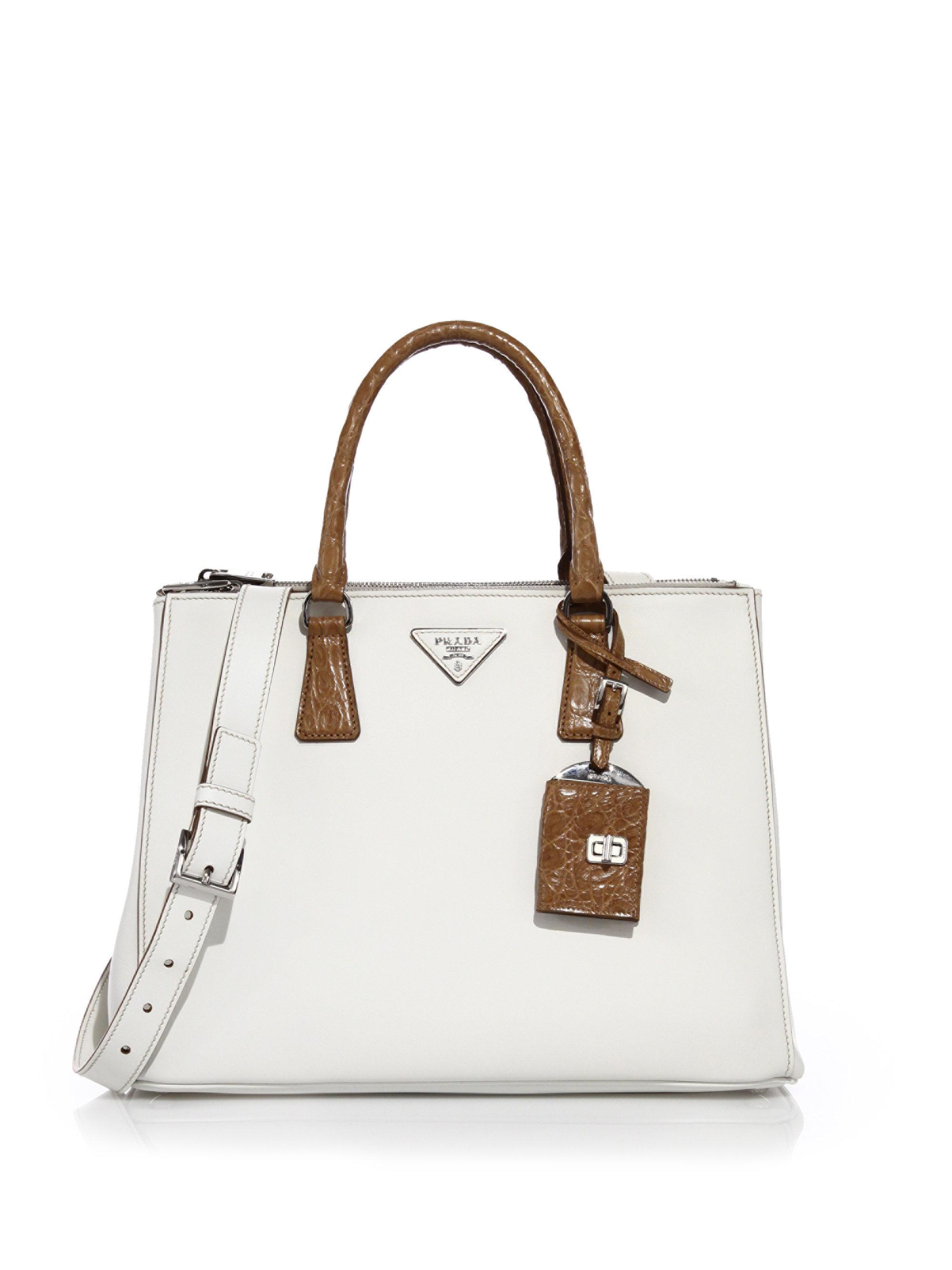de090097b22b Prada Galleria Medium Leather And Crocodile Tote in White - Lyst