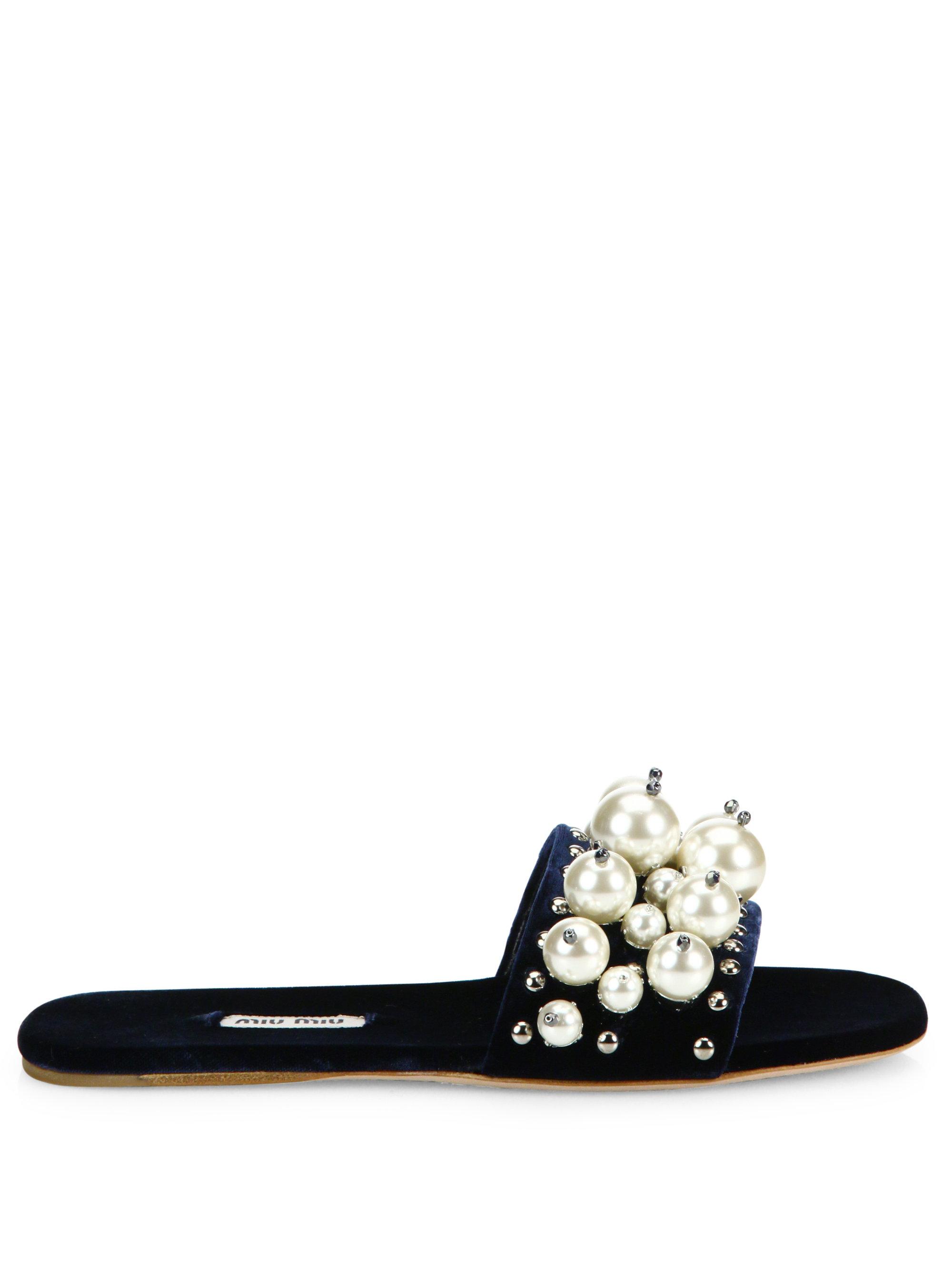 a1a81ae9533c Lyst - Miu Miu Pearl-embellished Velvet Slides