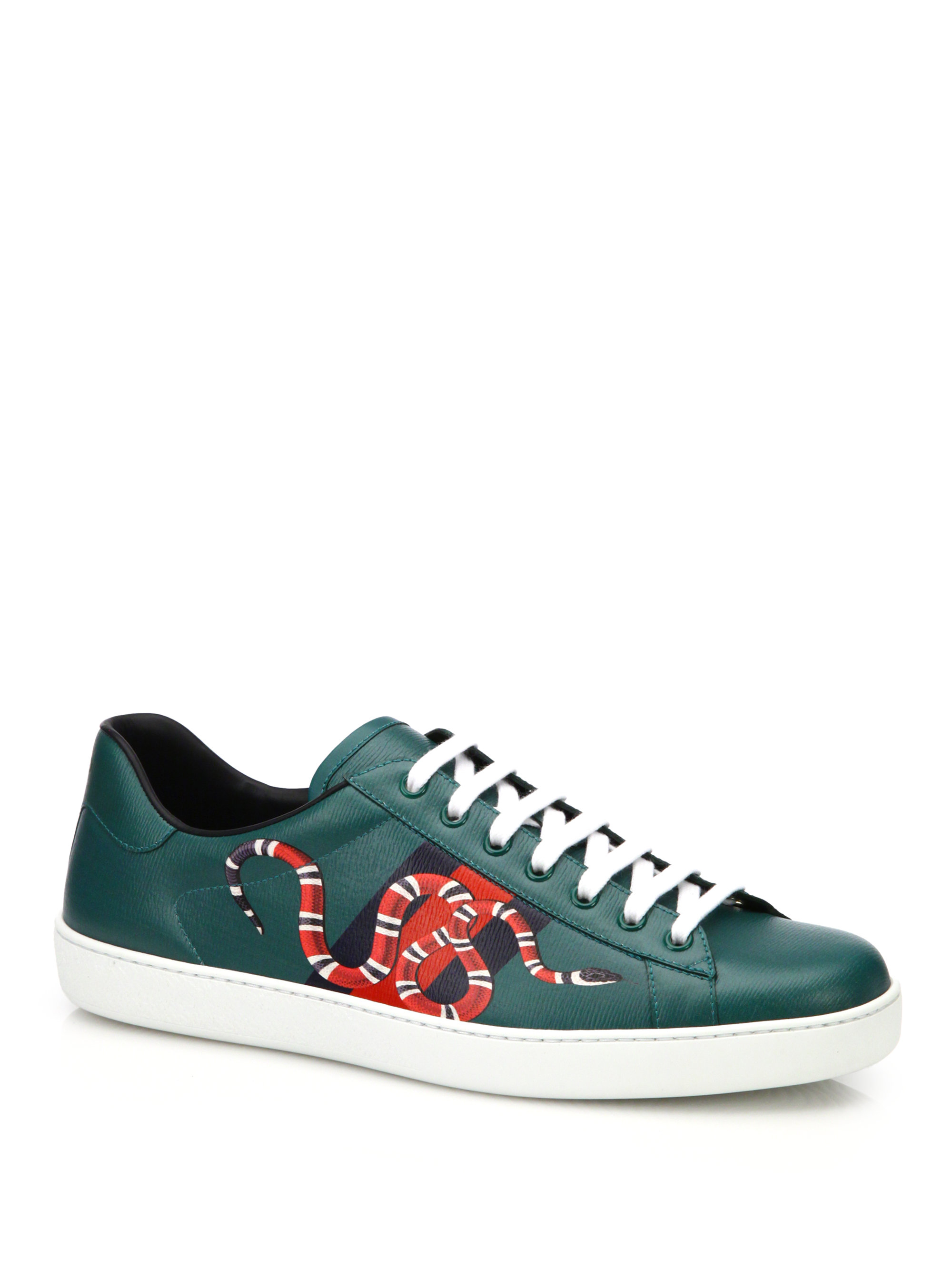 411f61efa Gucci New Ace Snake Print Leather Low-top Sneakers in Green - Lyst