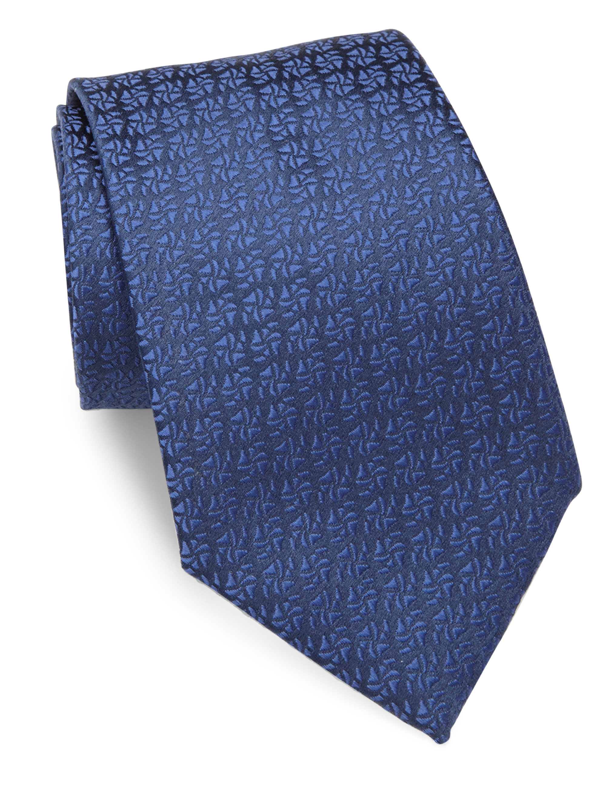 charvet solid textured silk tie in blue for lyst