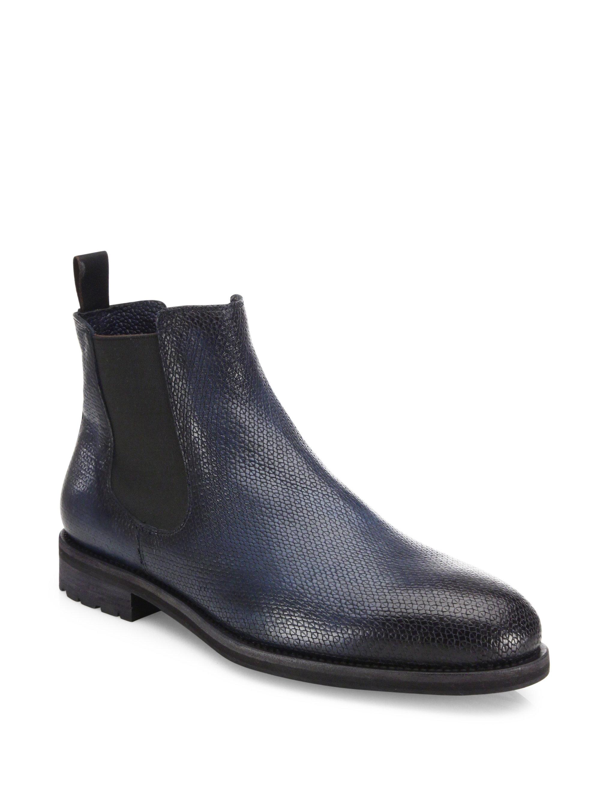 santoni shearling lined chelsea boots in blue for men lyst. Black Bedroom Furniture Sets. Home Design Ideas