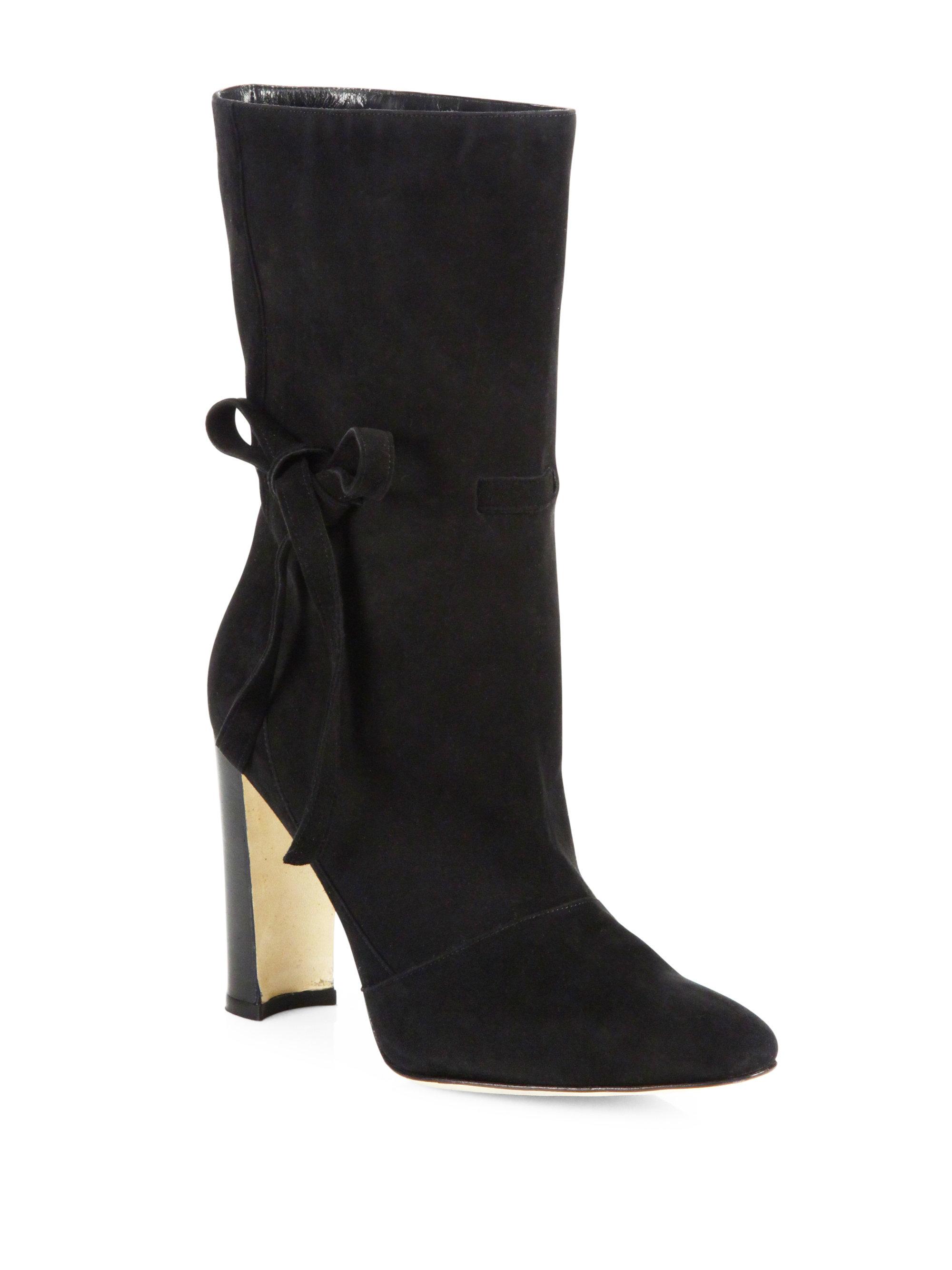 manolo blahnik suede bow block heel boots in black lyst
