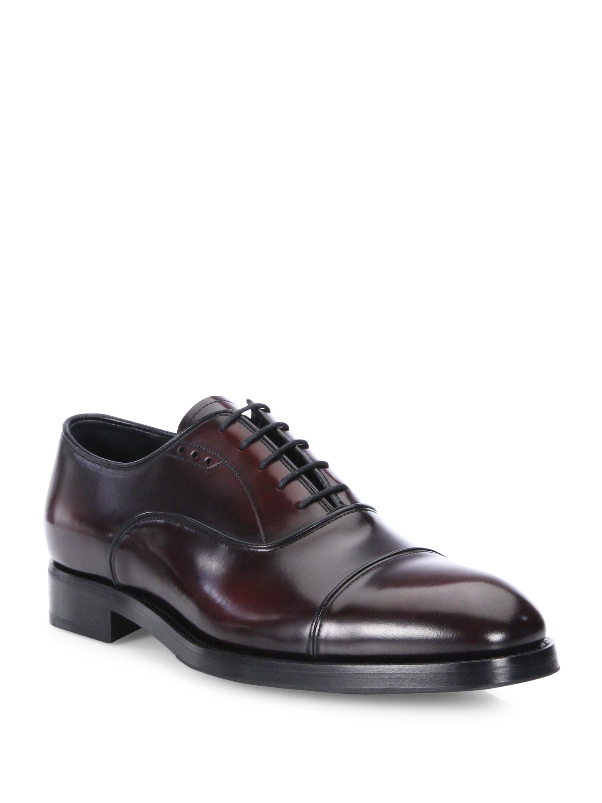 prada cordovan cap toe dress shoes for men lyst