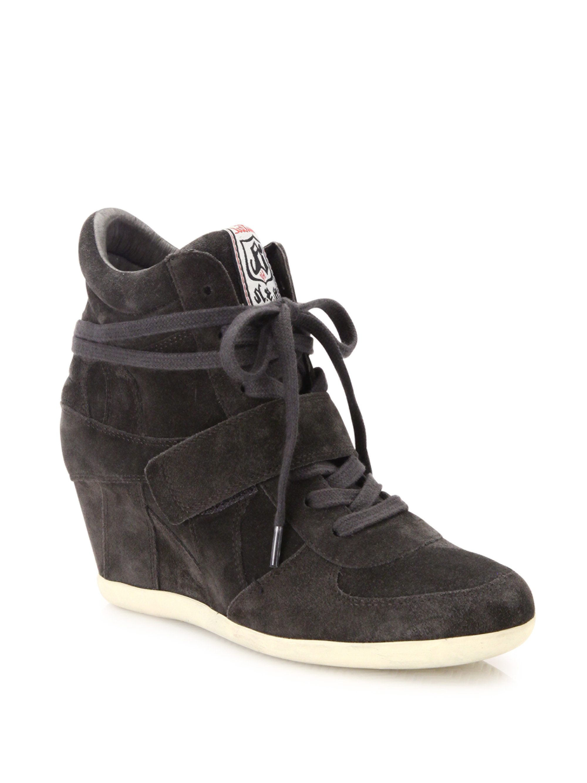 ash bowie suede high top wedge sneakers in black lyst. Black Bedroom Furniture Sets. Home Design Ideas
