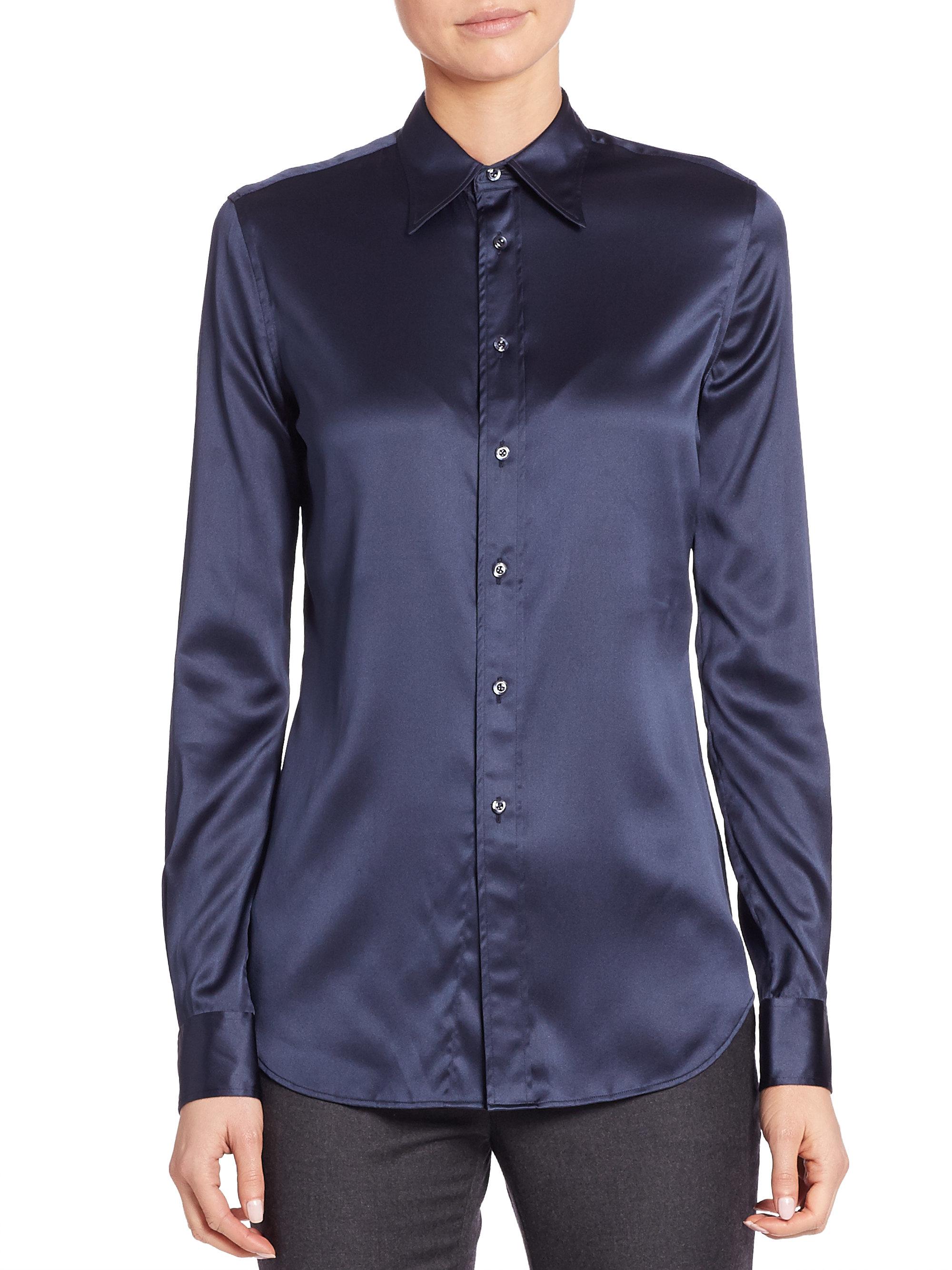 660b19a3c Ralph Lauren Collection Cindy Silk Shirt in Blue - Lyst