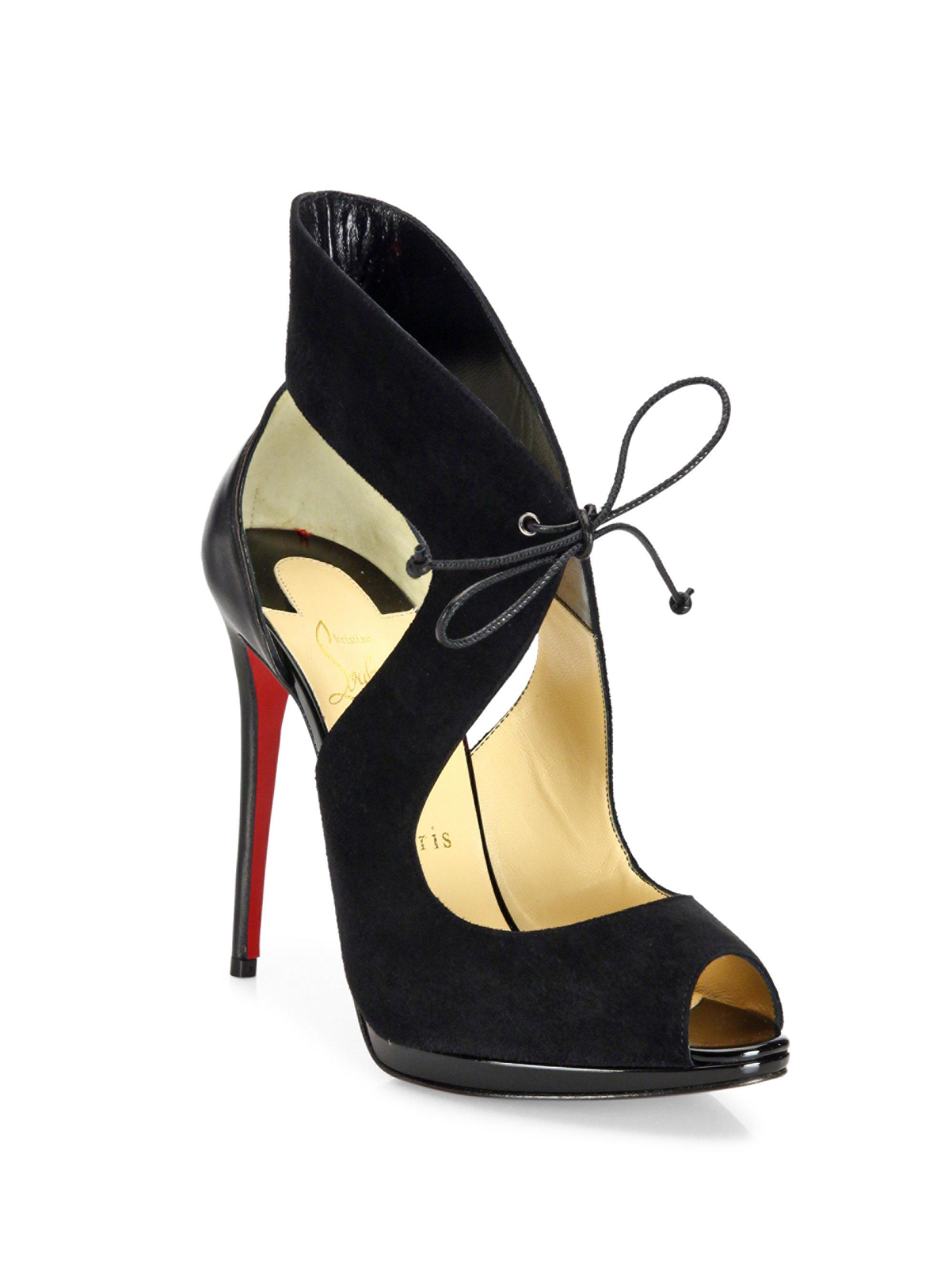 Christian Louboutin Campanina 120 Suede Amp Leather Front