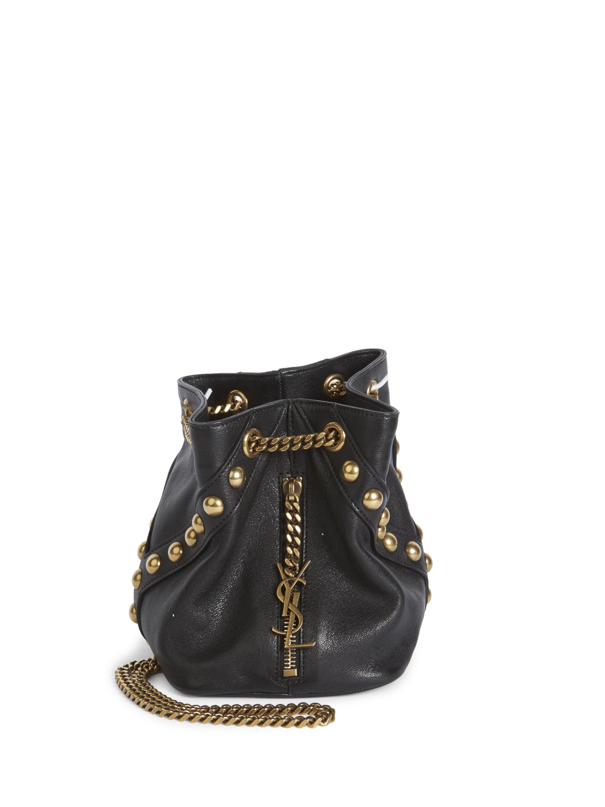 156fd729c10 Lyst - Saint Laurent Y Studs Baby Leather Chain Drawstring Bag in Black