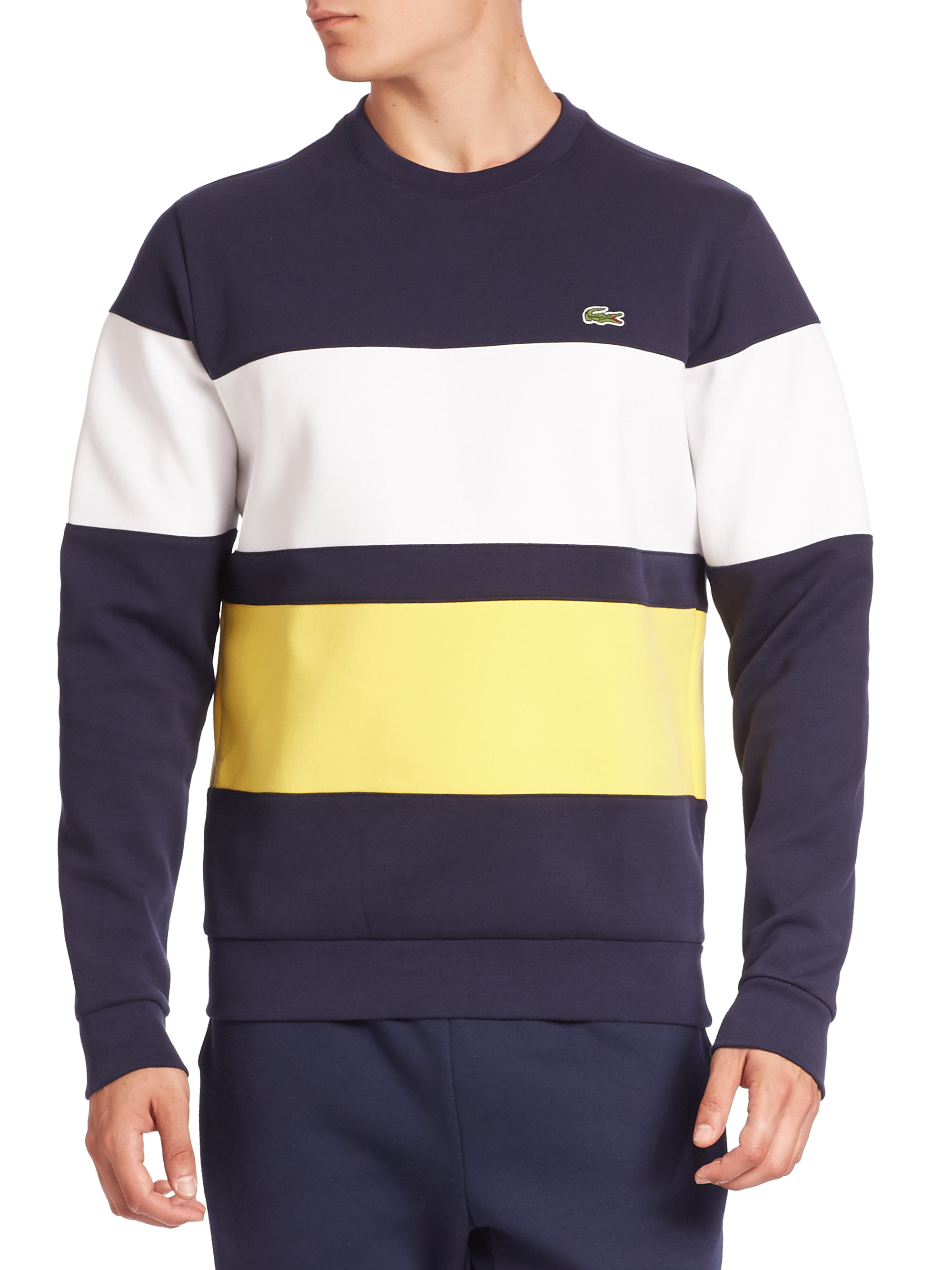 a75cbba5f4 Lacoste Striped Long Sleeve Sweatshirt in Blue for Men - Lyst