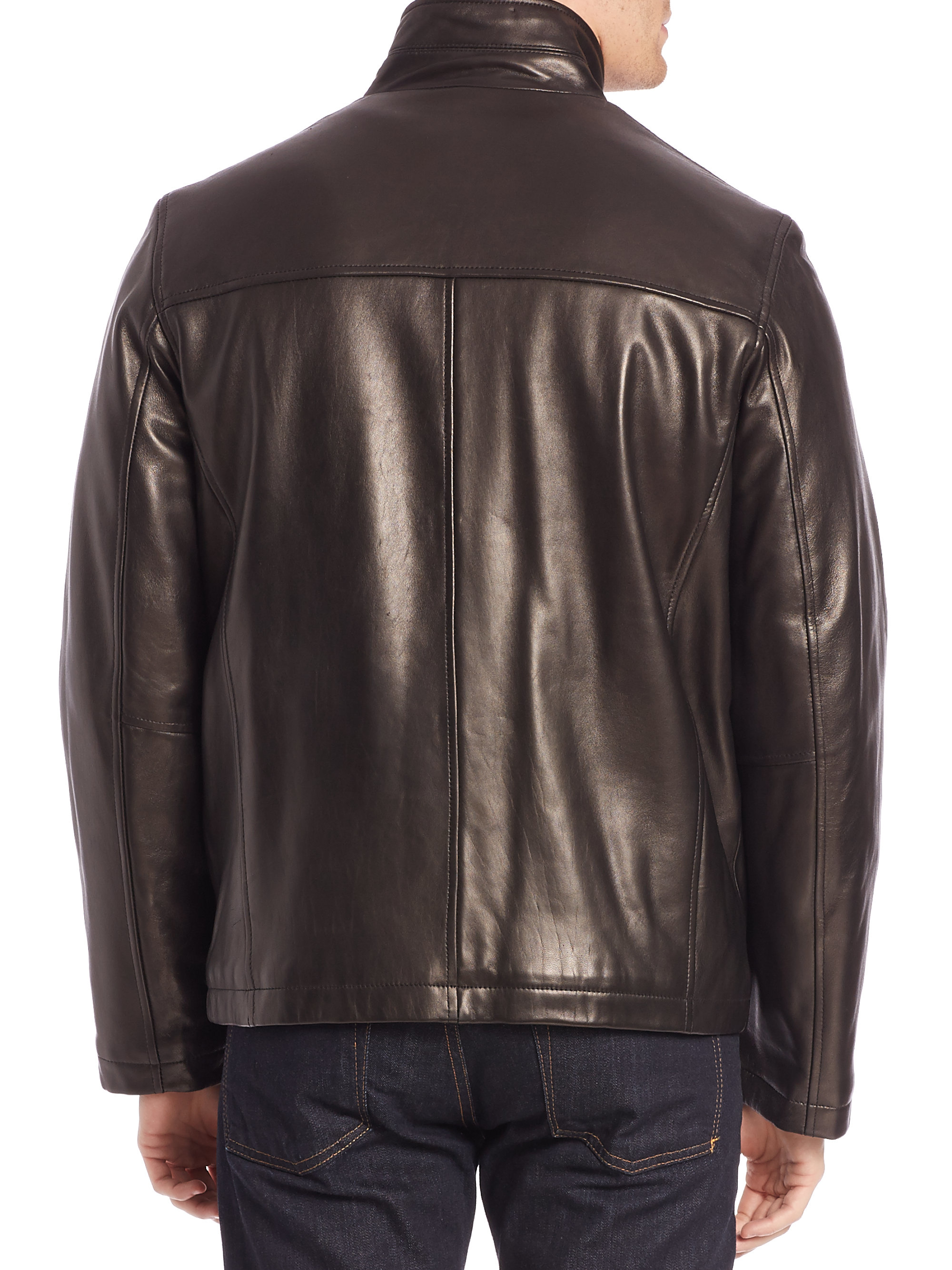 Lyst Cole Haan Leather Field Jacket In Natural For Men