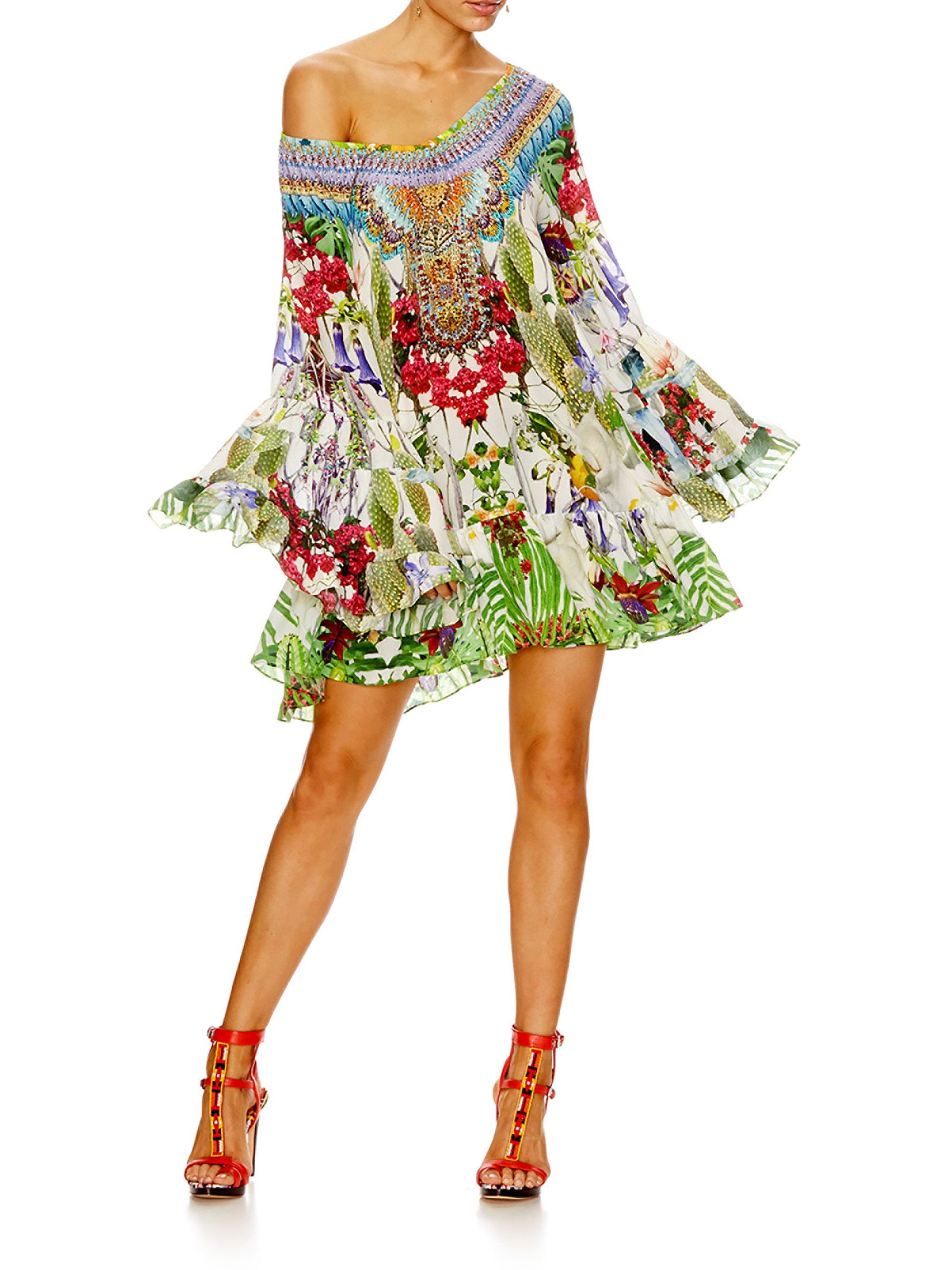 Camilla A Line Frill Silk Dress Lyst