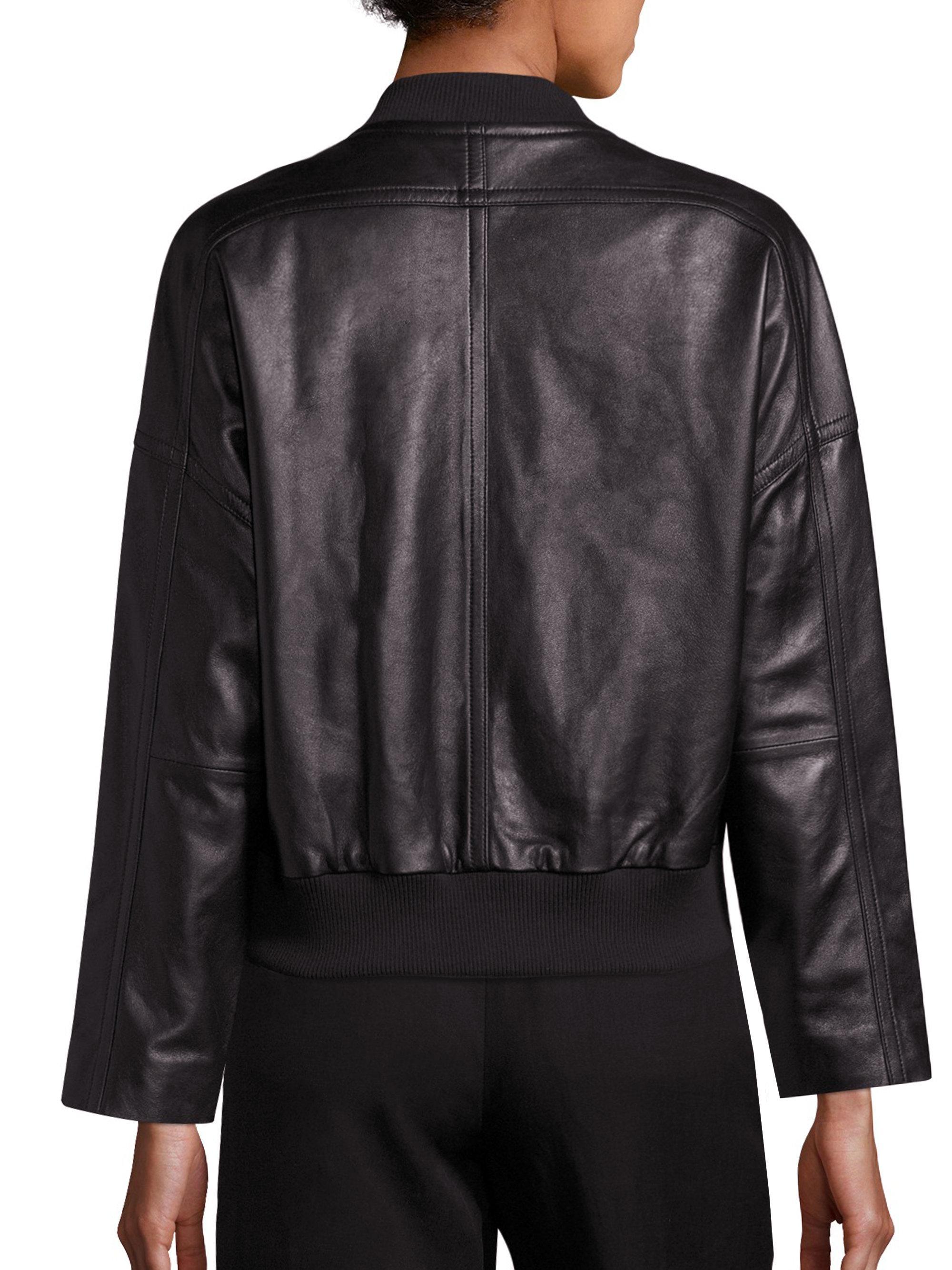 Lyst Vince Leather Drop Shoulder Bomber Jacket In Black