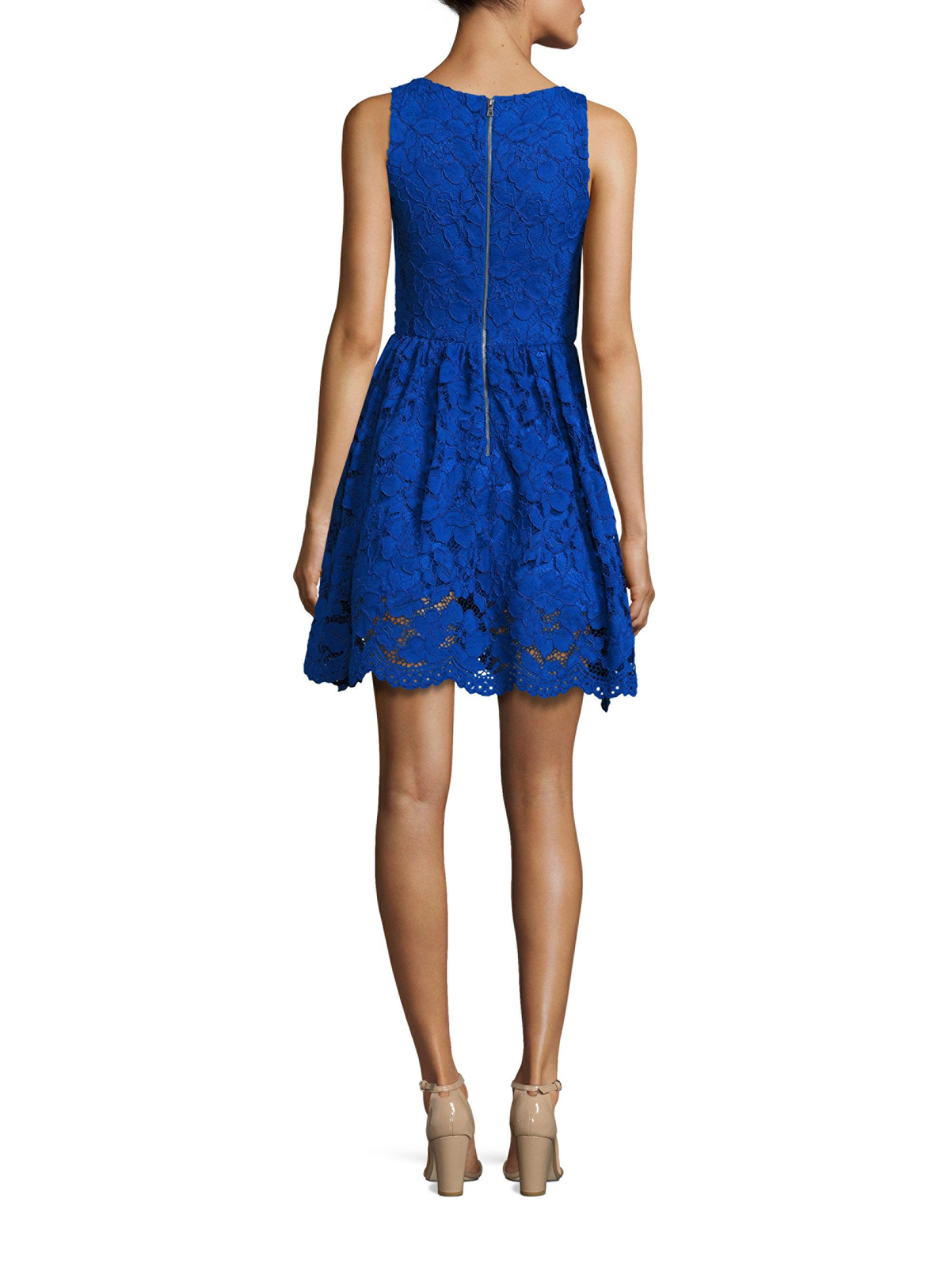 Alice Olivia Ginger Lace Fit Amp Flare Dress In Blue Lyst