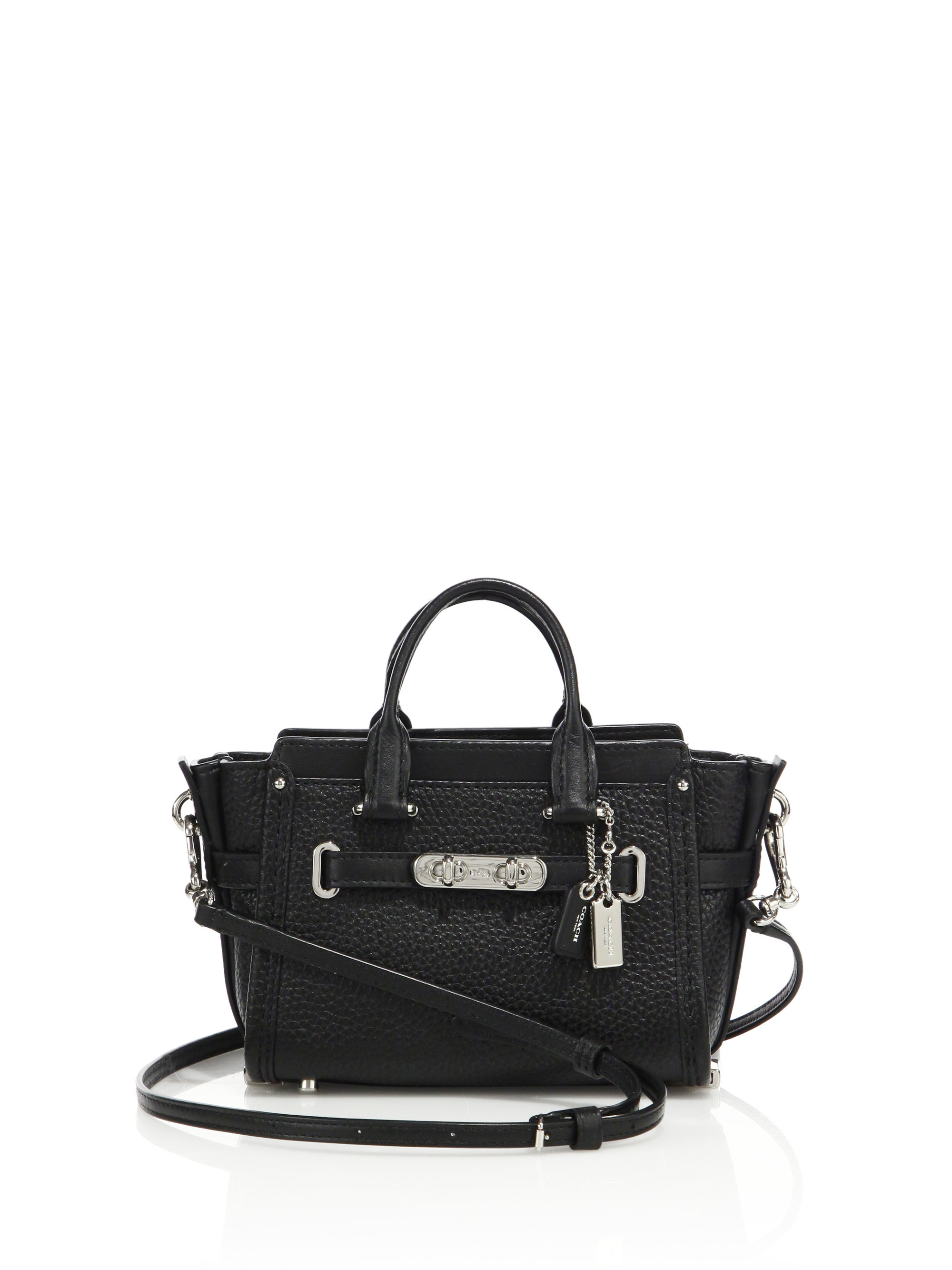 Backpackbucket bag  Coach Swagger 15 Textured Leather Satchel in Black Lyst ce59d11ed18cf