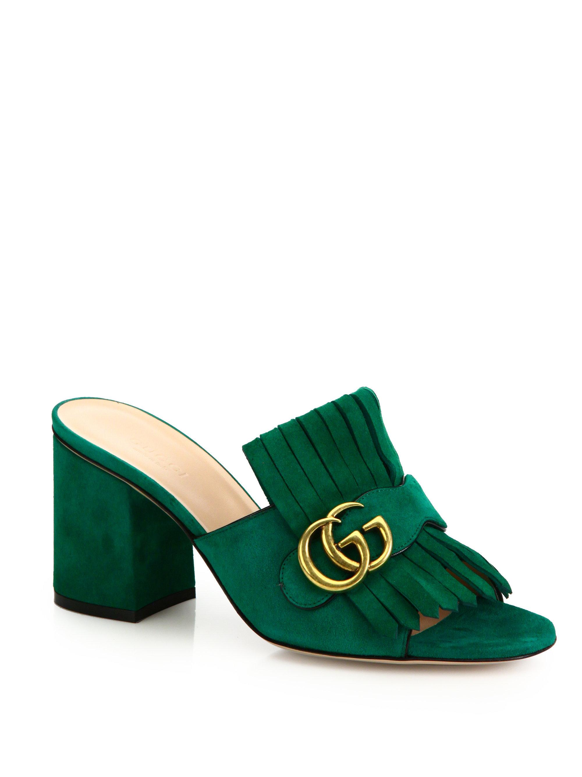 Gucci Marmont Gg Kiltie Suede Block Heel Mules In Green Lyst